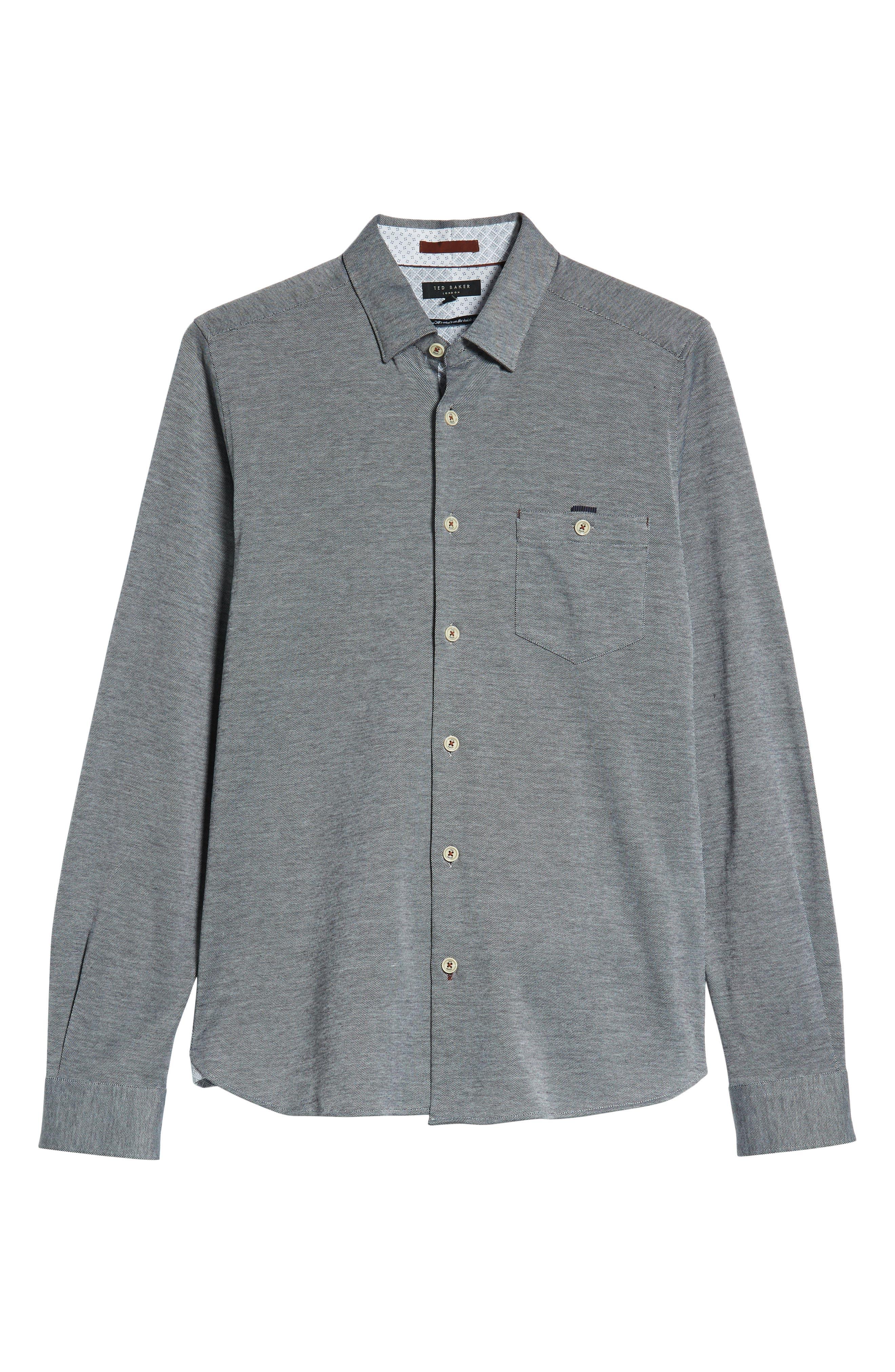 Timothy Slim Fit Cotton Jersey Shirt,                             Alternate thumbnail 6, color,                             BLACK