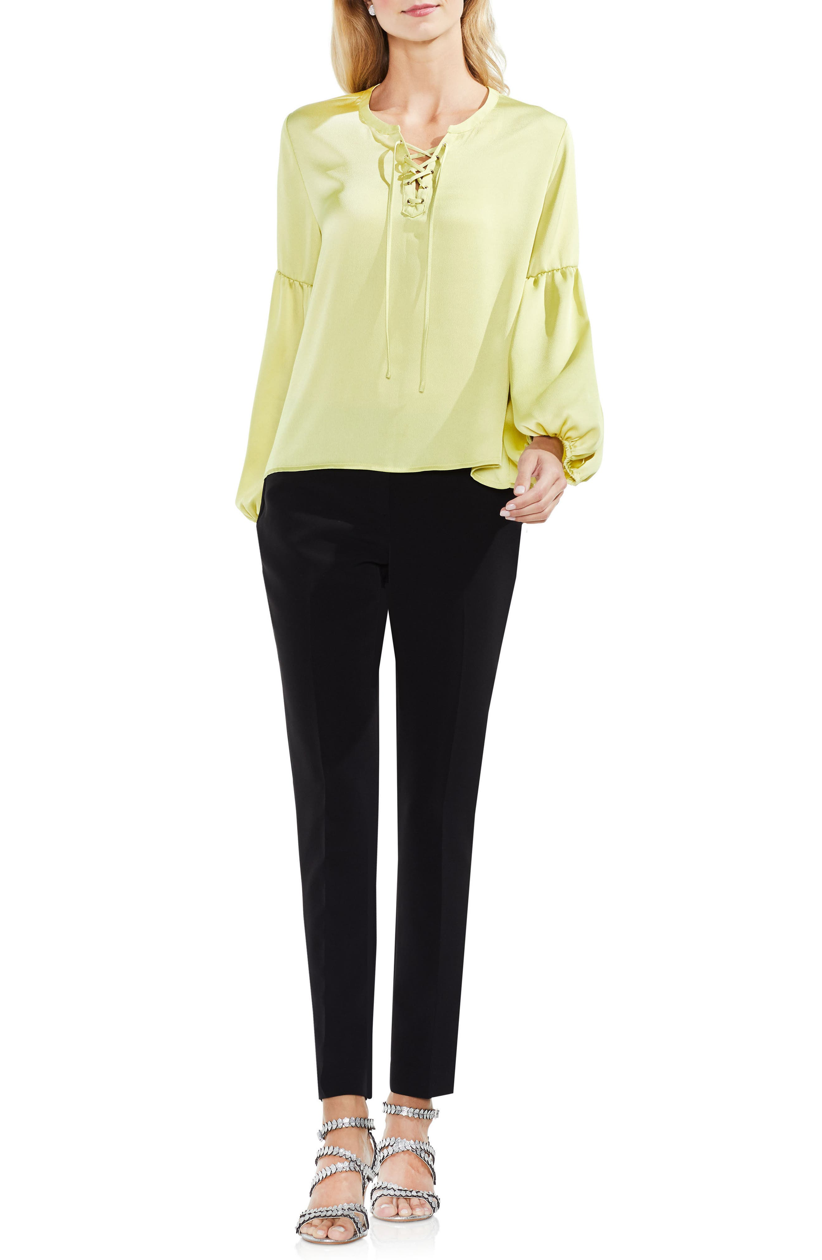 Lace-Up Hammered Satin Blouse,                             Alternate thumbnail 21, color,