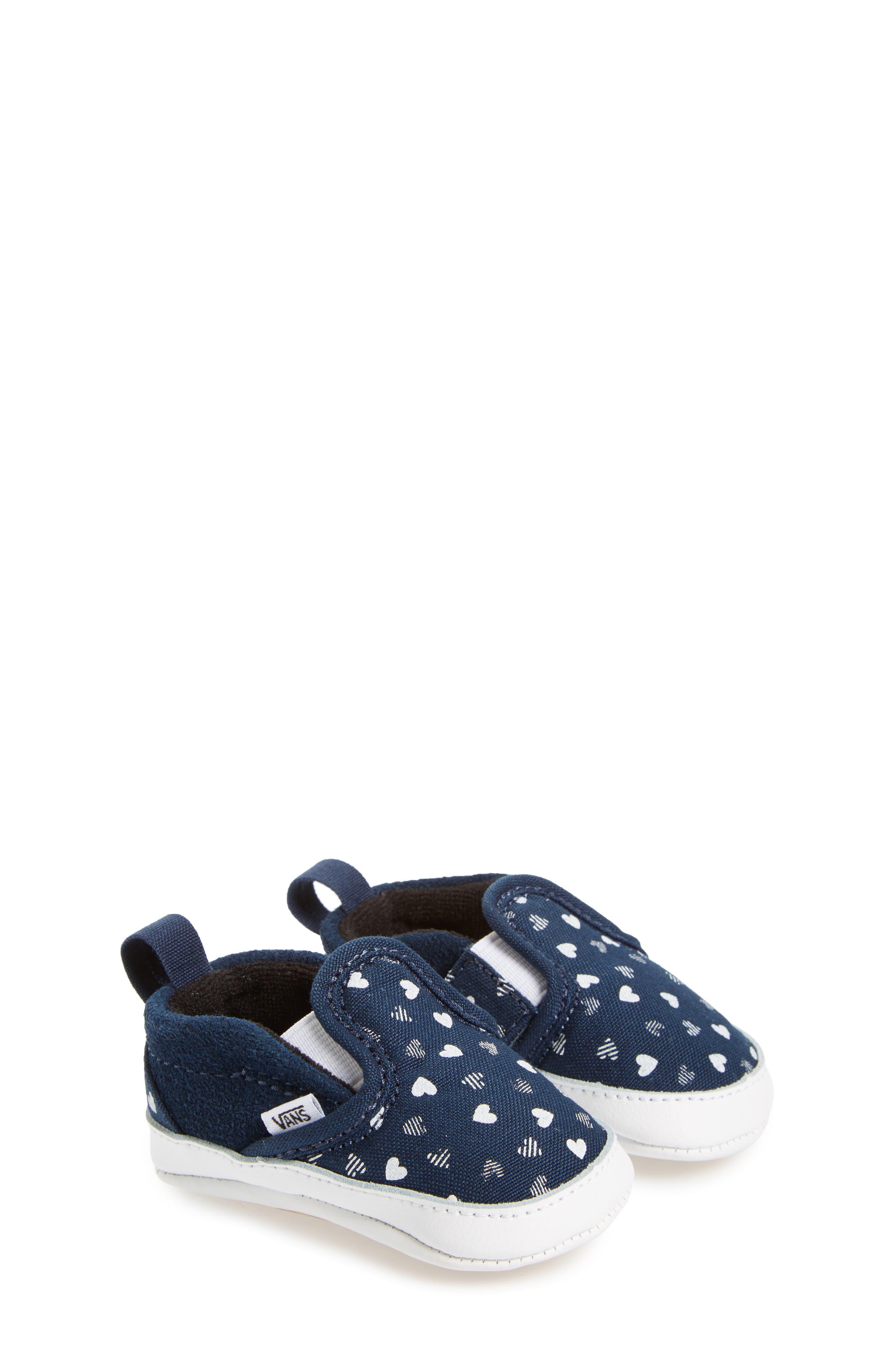 Slip-On Hearts Crib Shoe,                         Main,                         color, 420