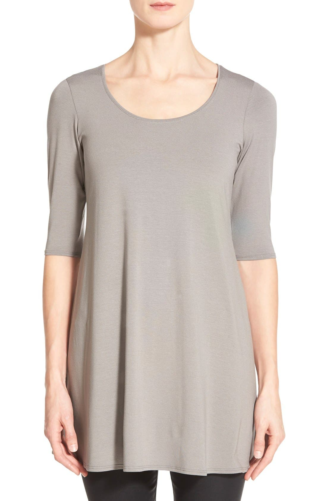 Scoop Neck Elbow Sleeve Jersey Tunic,                             Main thumbnail 3, color,