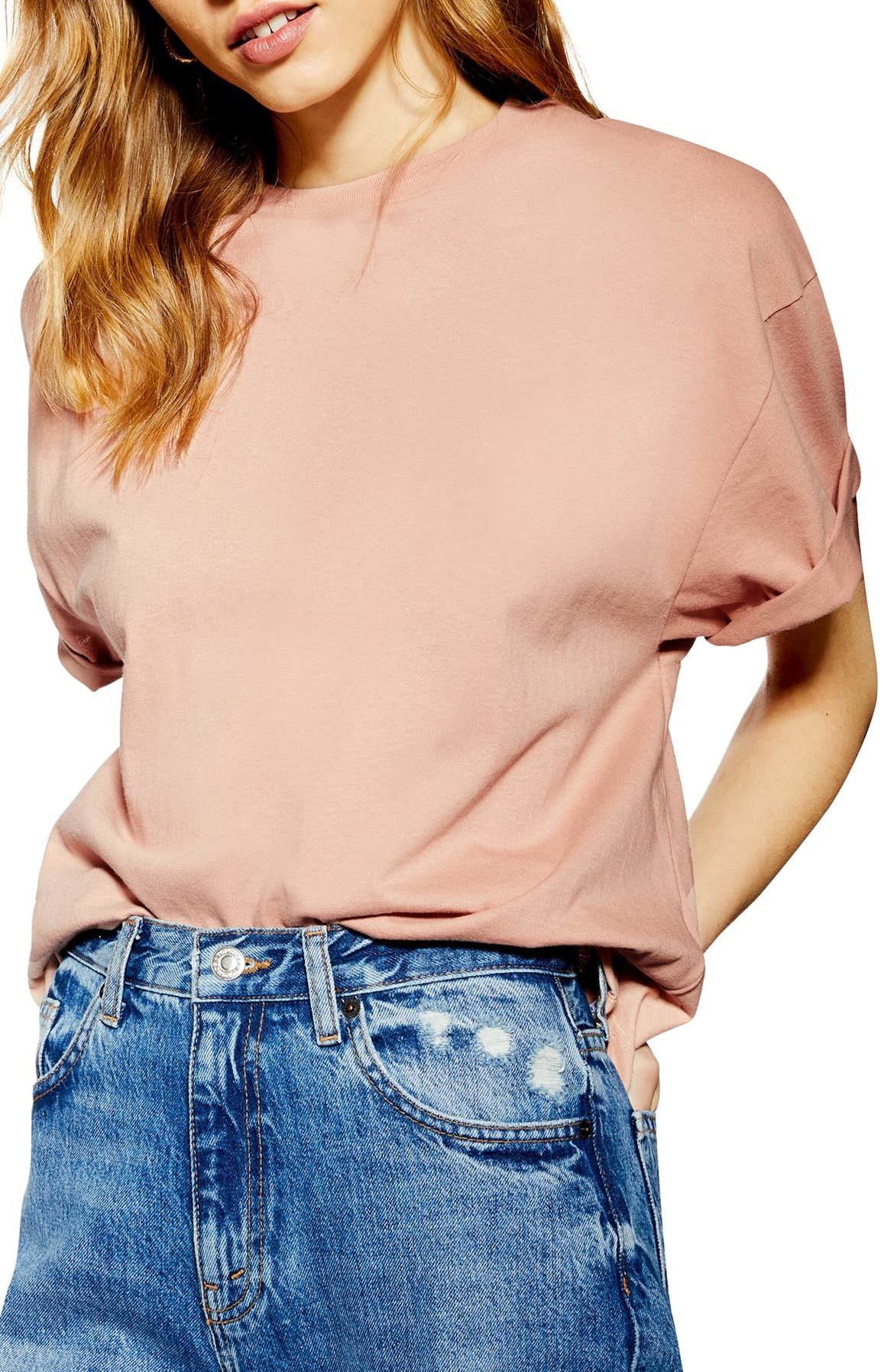 TOPSHOP Boxy Roll Tee, Main, color, PINK