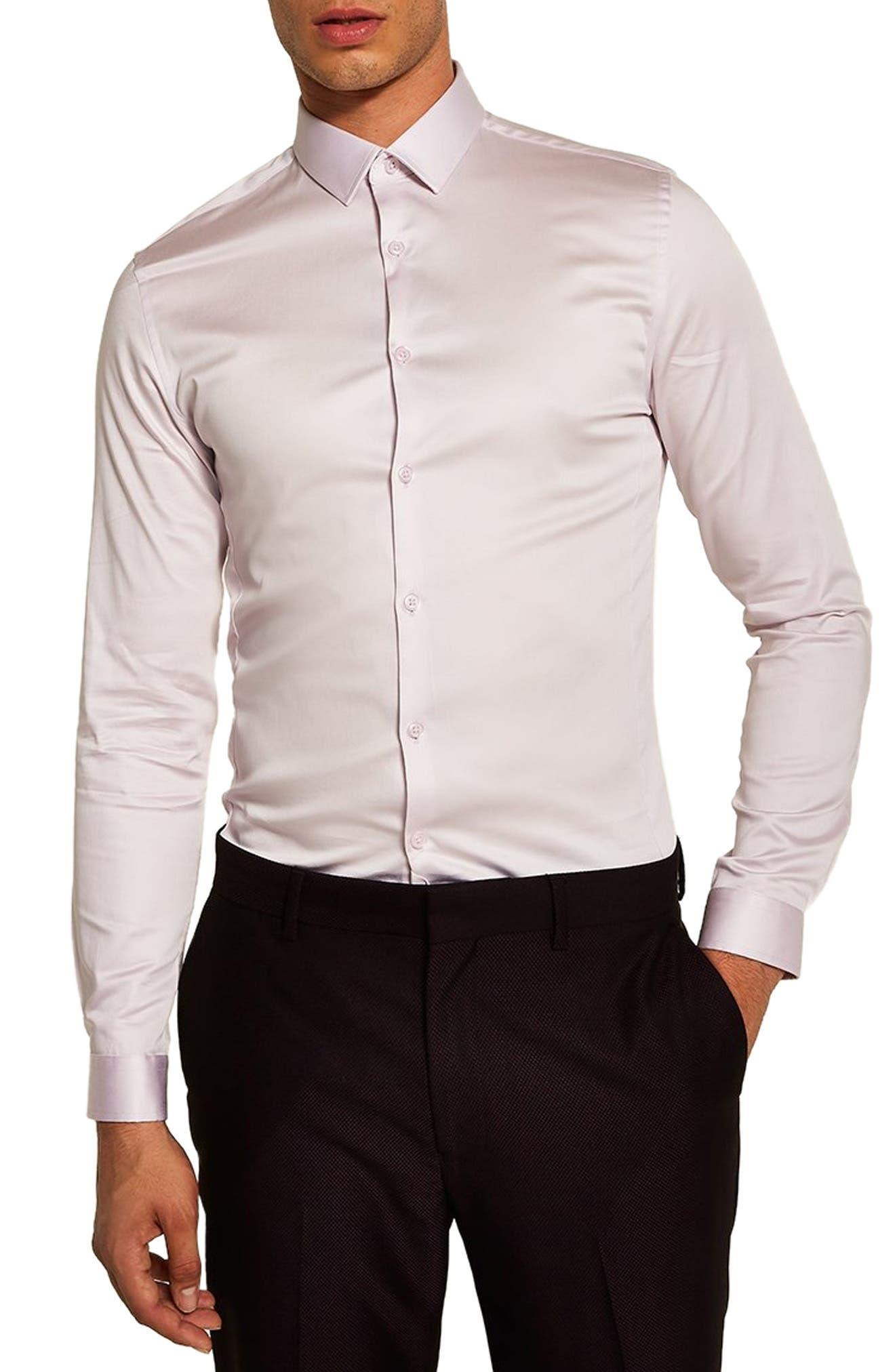 Satin Stretch Classic Fit Shirt,                             Main thumbnail 1, color,                             PURPLE