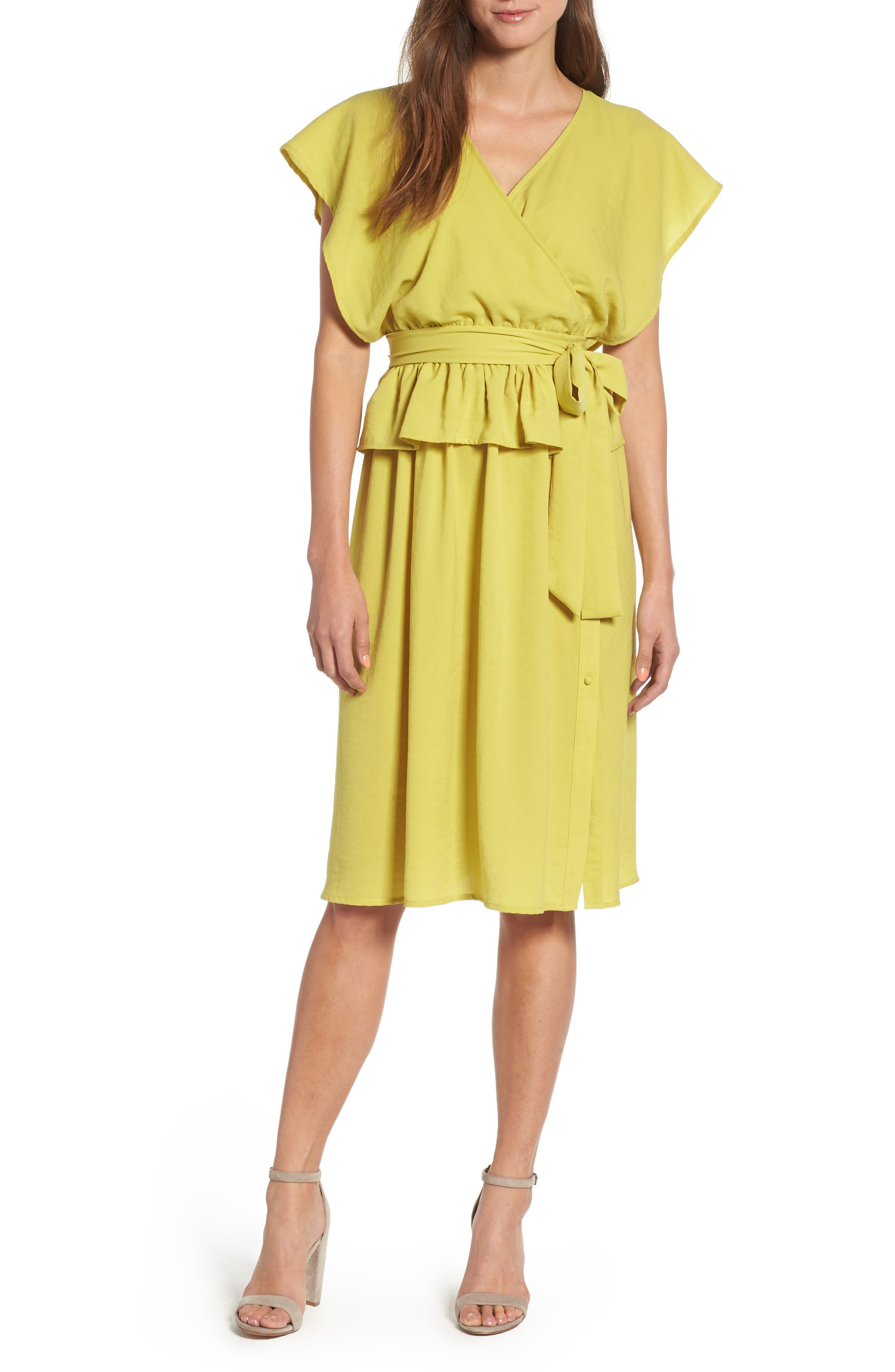 Wrap Midi Dress,                             Main thumbnail 1, color,