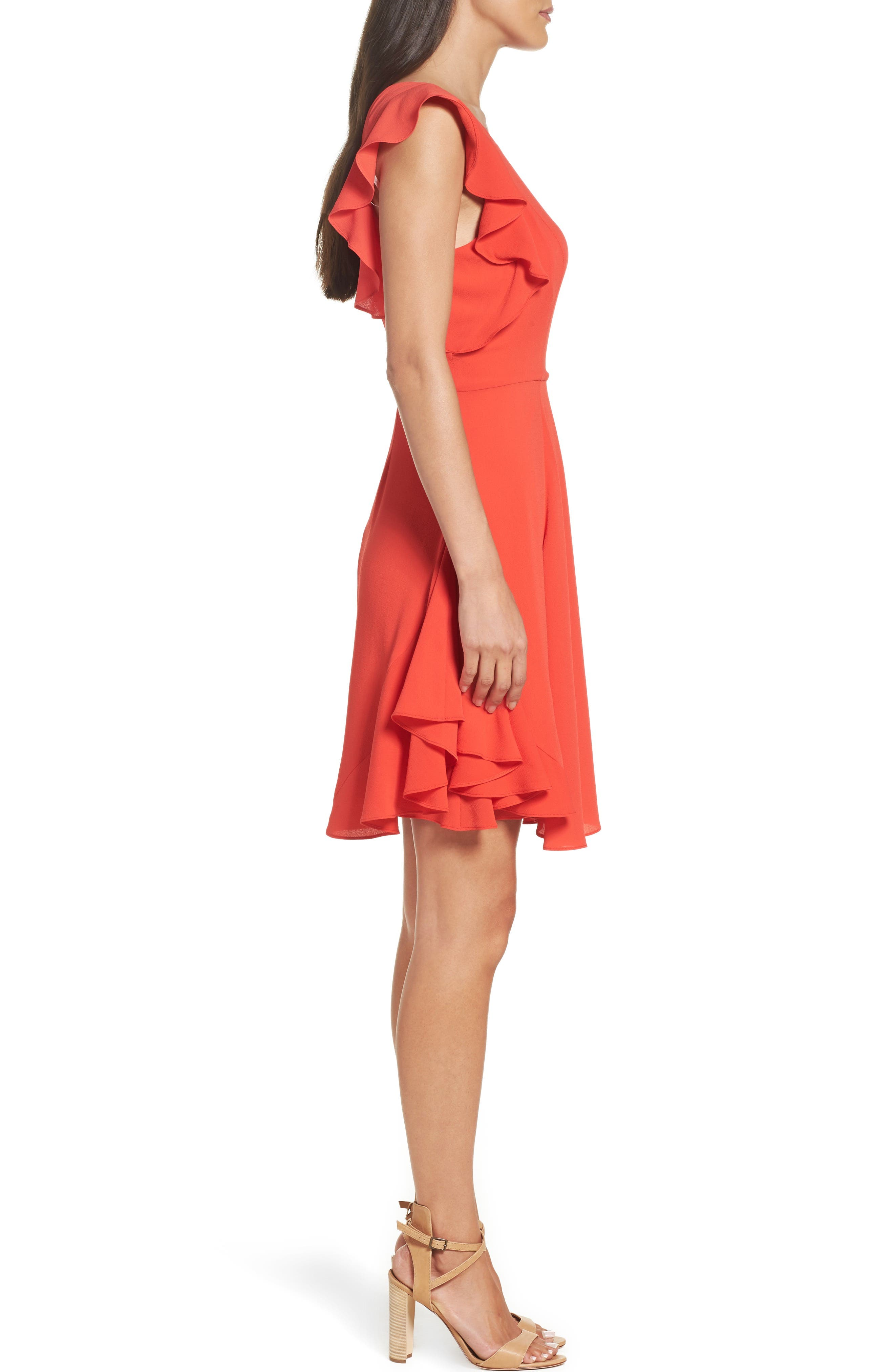 Ruffle Fit & Flare Dress,                             Alternate thumbnail 3, color,                             606