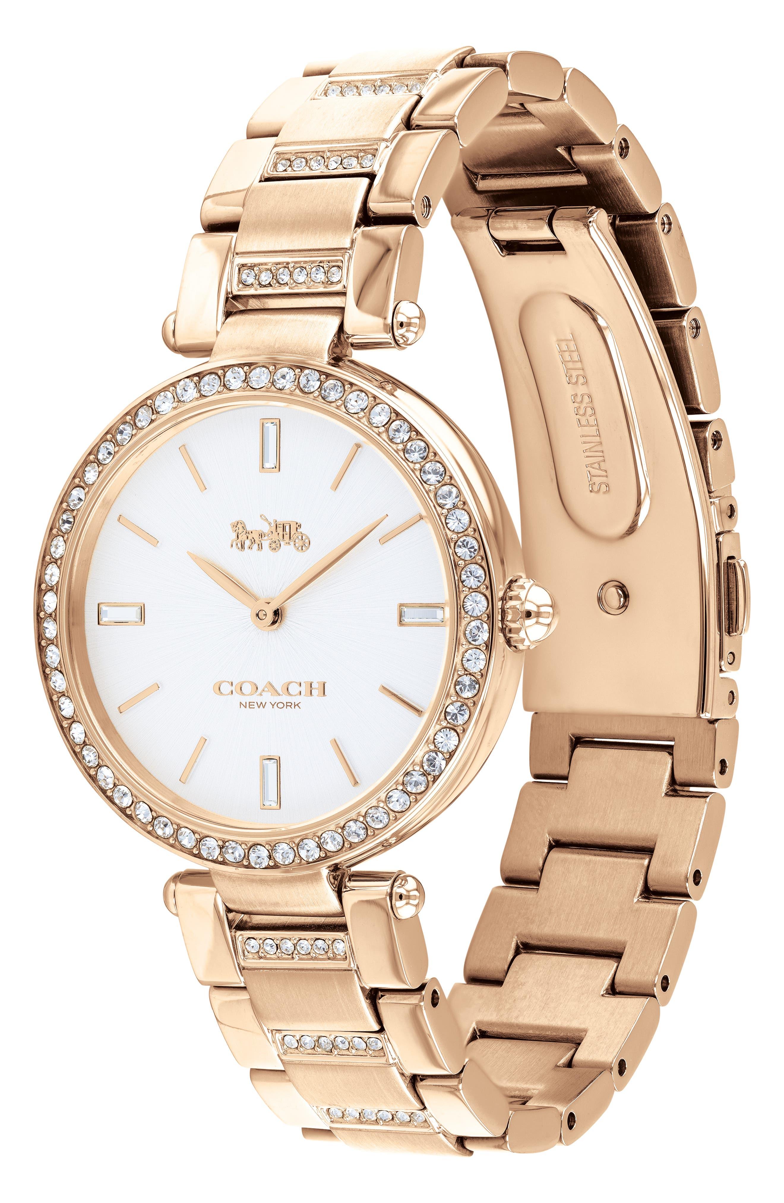 Park Bracelet Watch, 34mm,                             Alternate thumbnail 3, color,                             ROSE GOLD/ WHITE/ ROSE GOLD