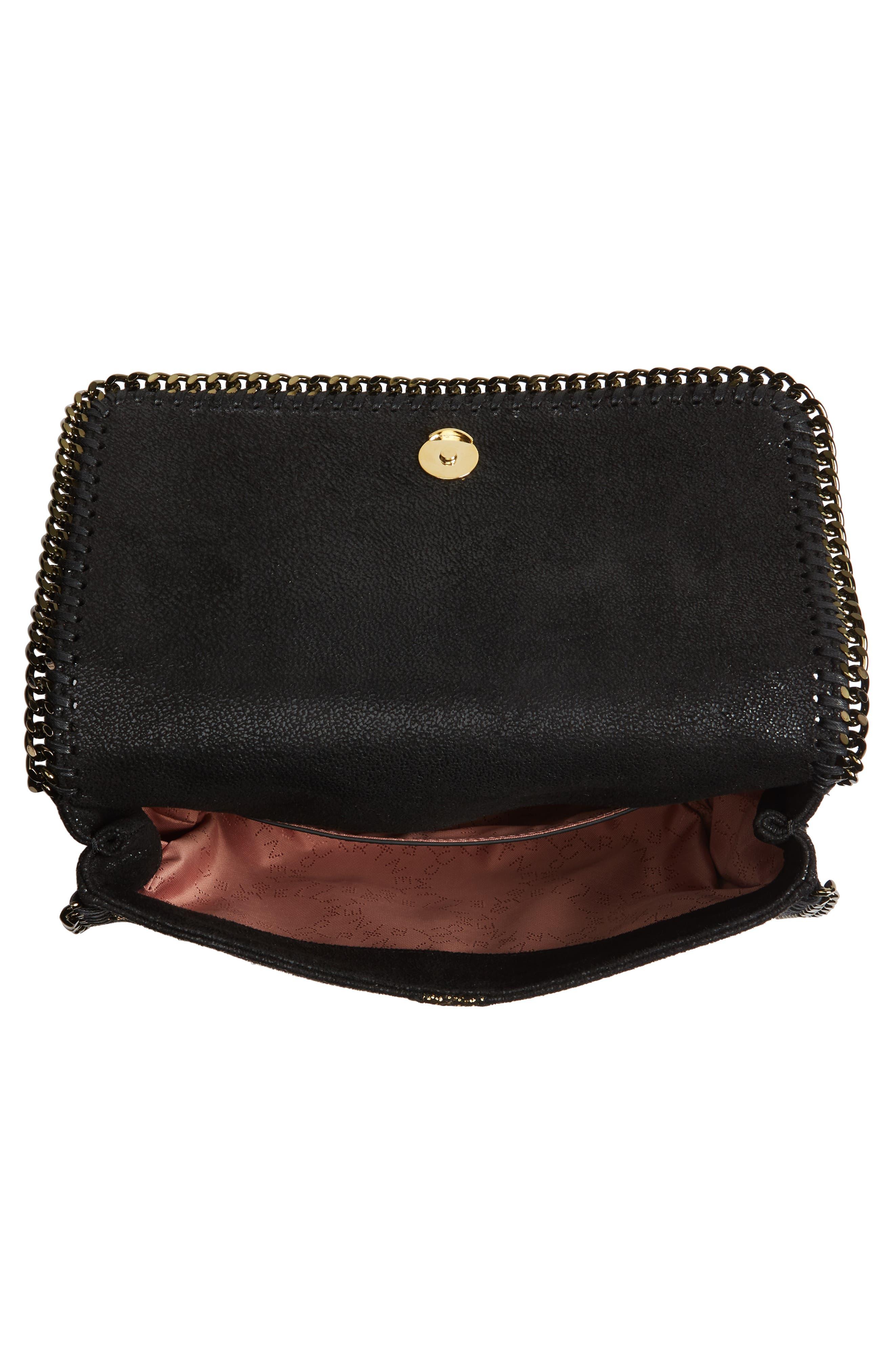 Small Falabella Shaggy Deer Star Faux Leather Shoulder Bag,                             Alternate thumbnail 4, color,                             001