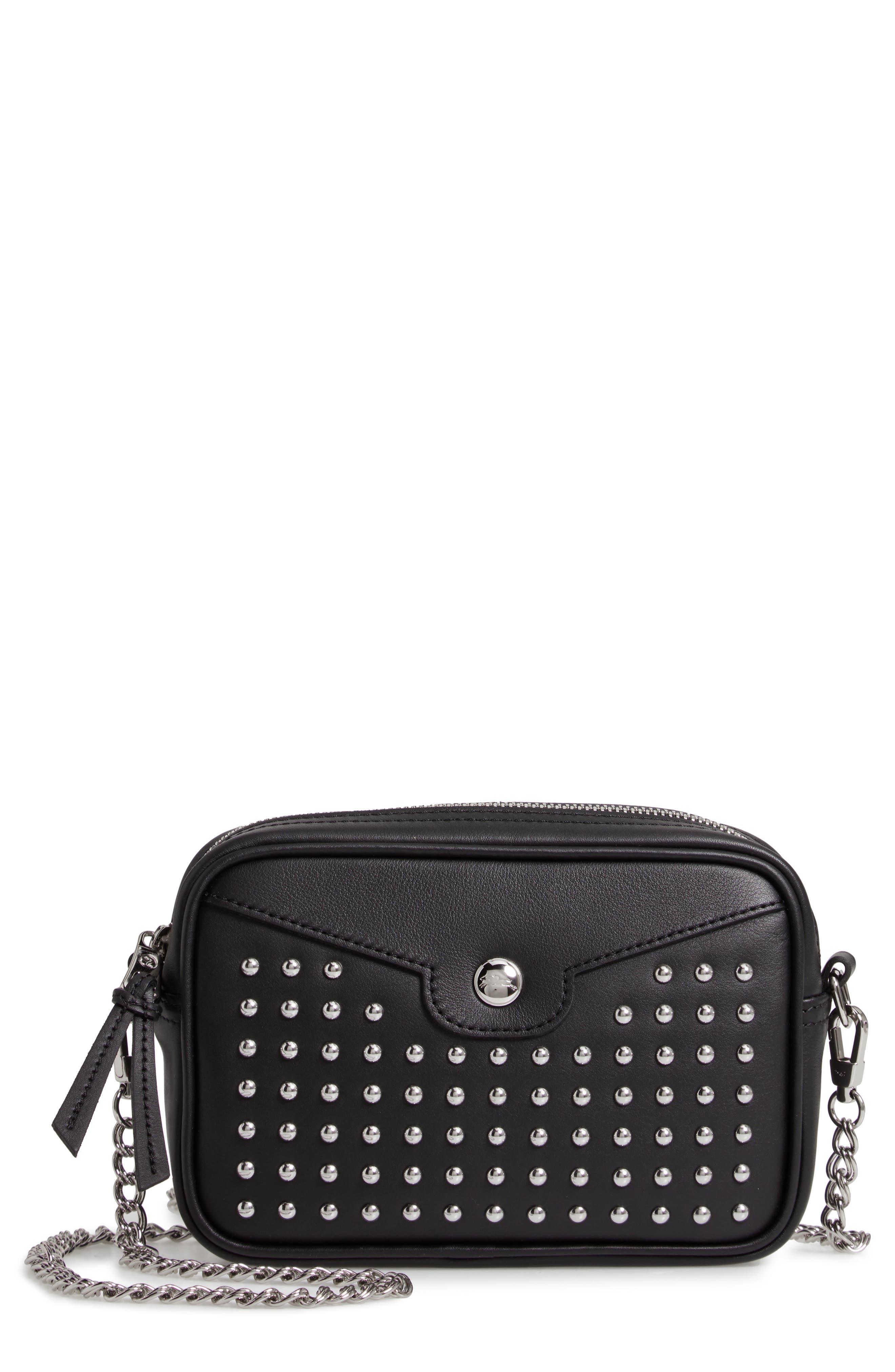 Mademoiselle Studded Leather Camera Bag - Black
