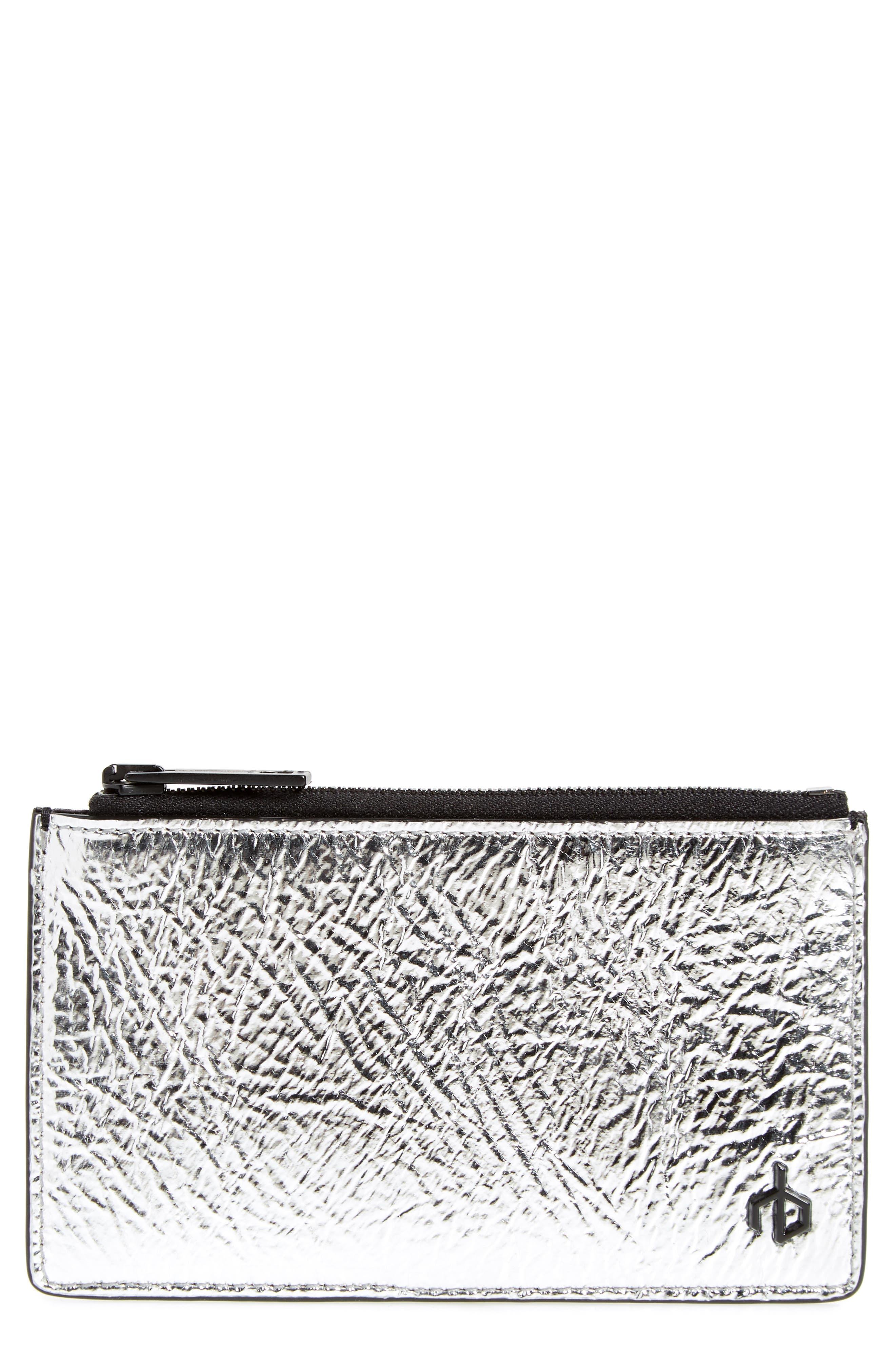 metallic leather card case,                         Main,                         color, 041