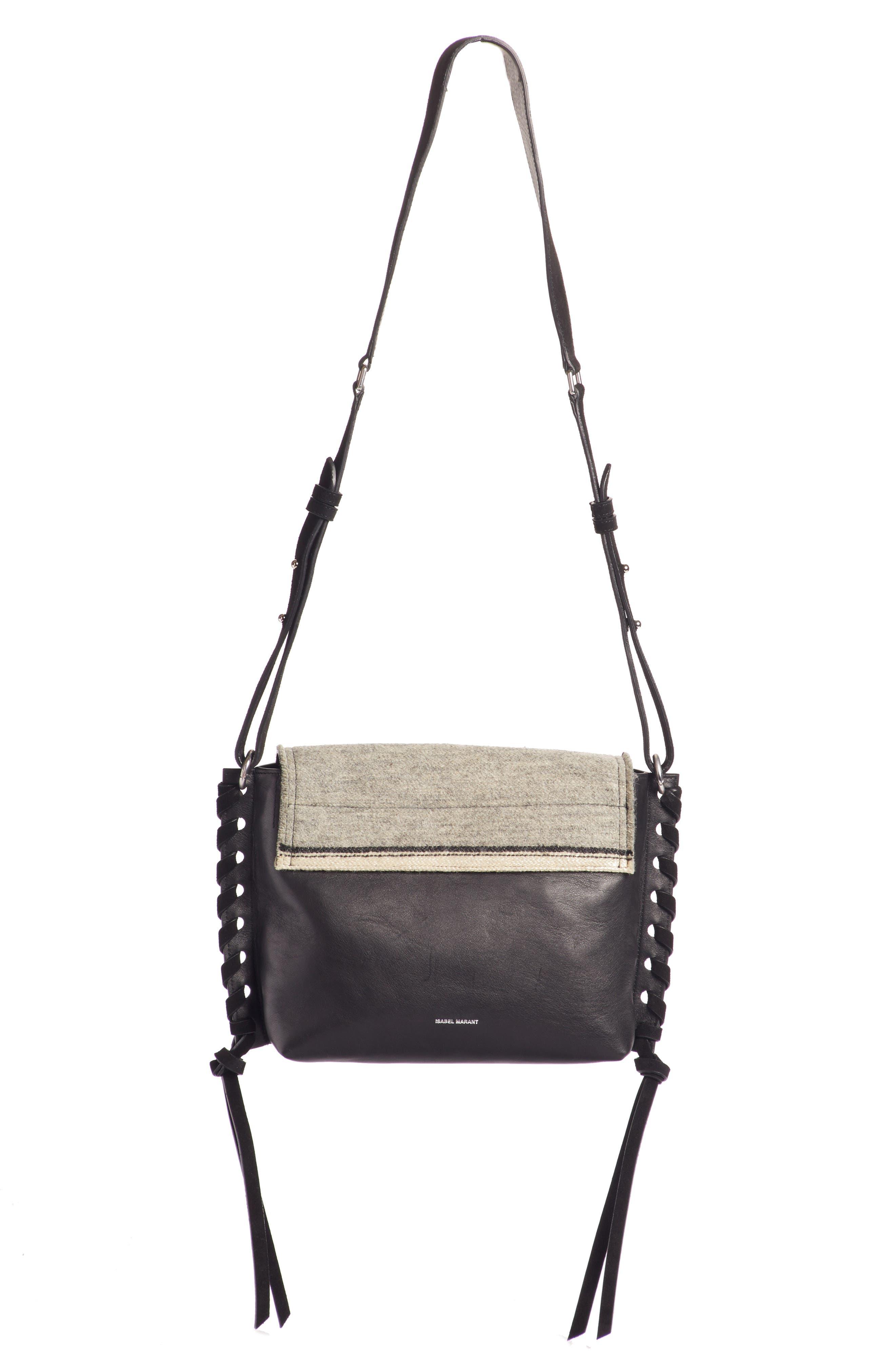 Asli Wool & Leather Shoulder Bag,                             Alternate thumbnail 3, color,                             020