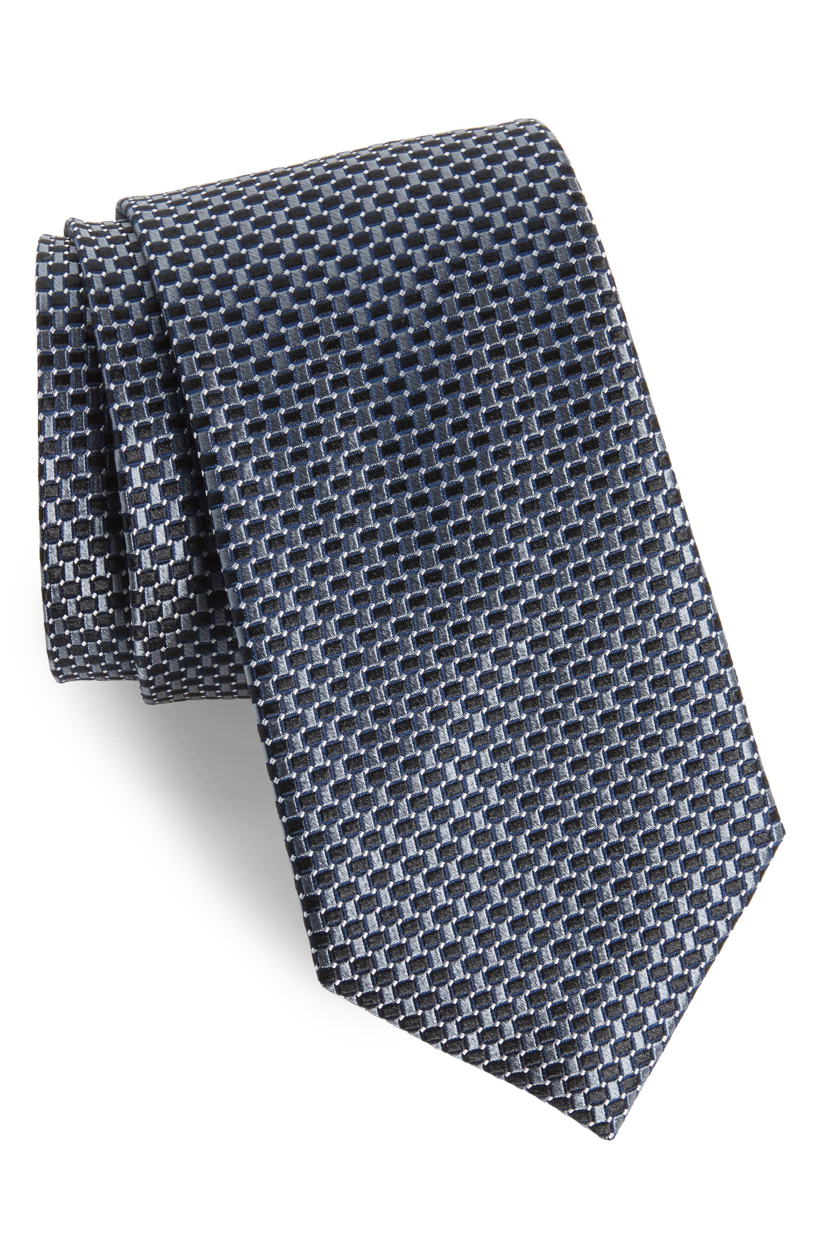 Basketweave Silk Tie,                         Main,                         color, 001