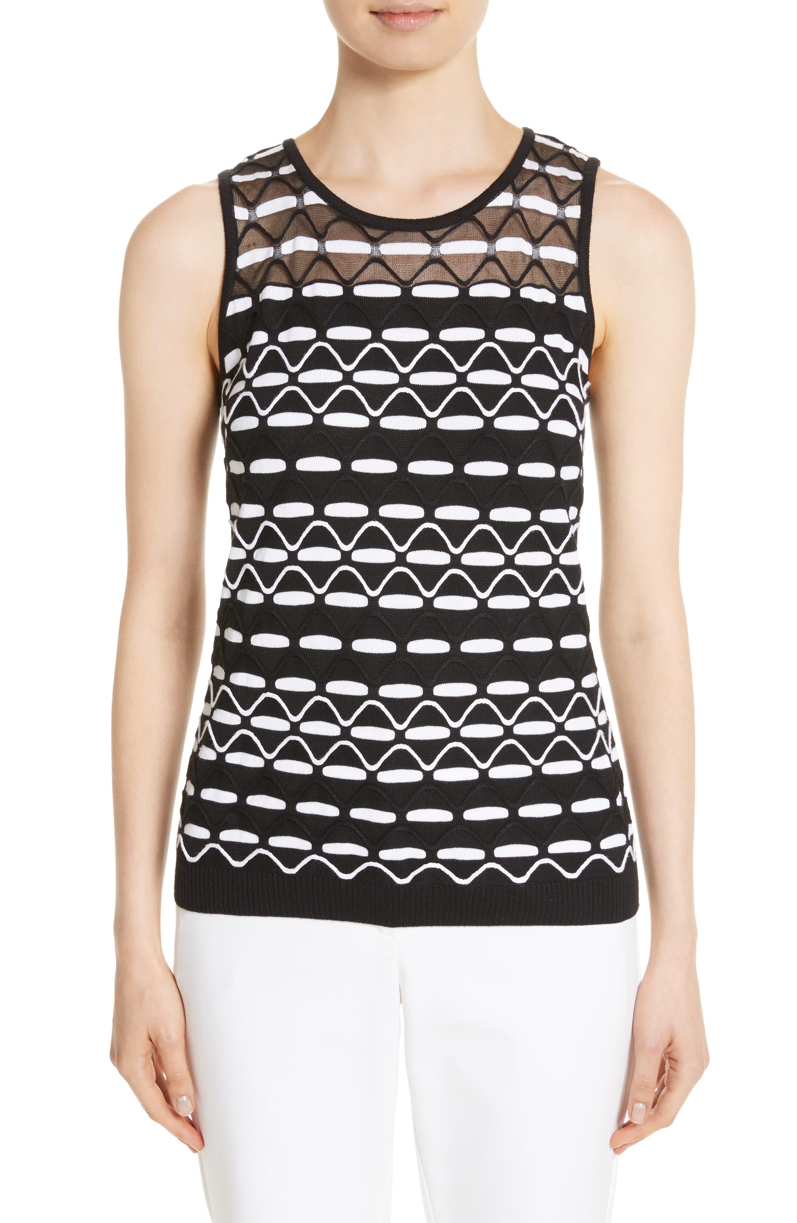Textural Wave Knit Shell,                         Main,                         color, 001