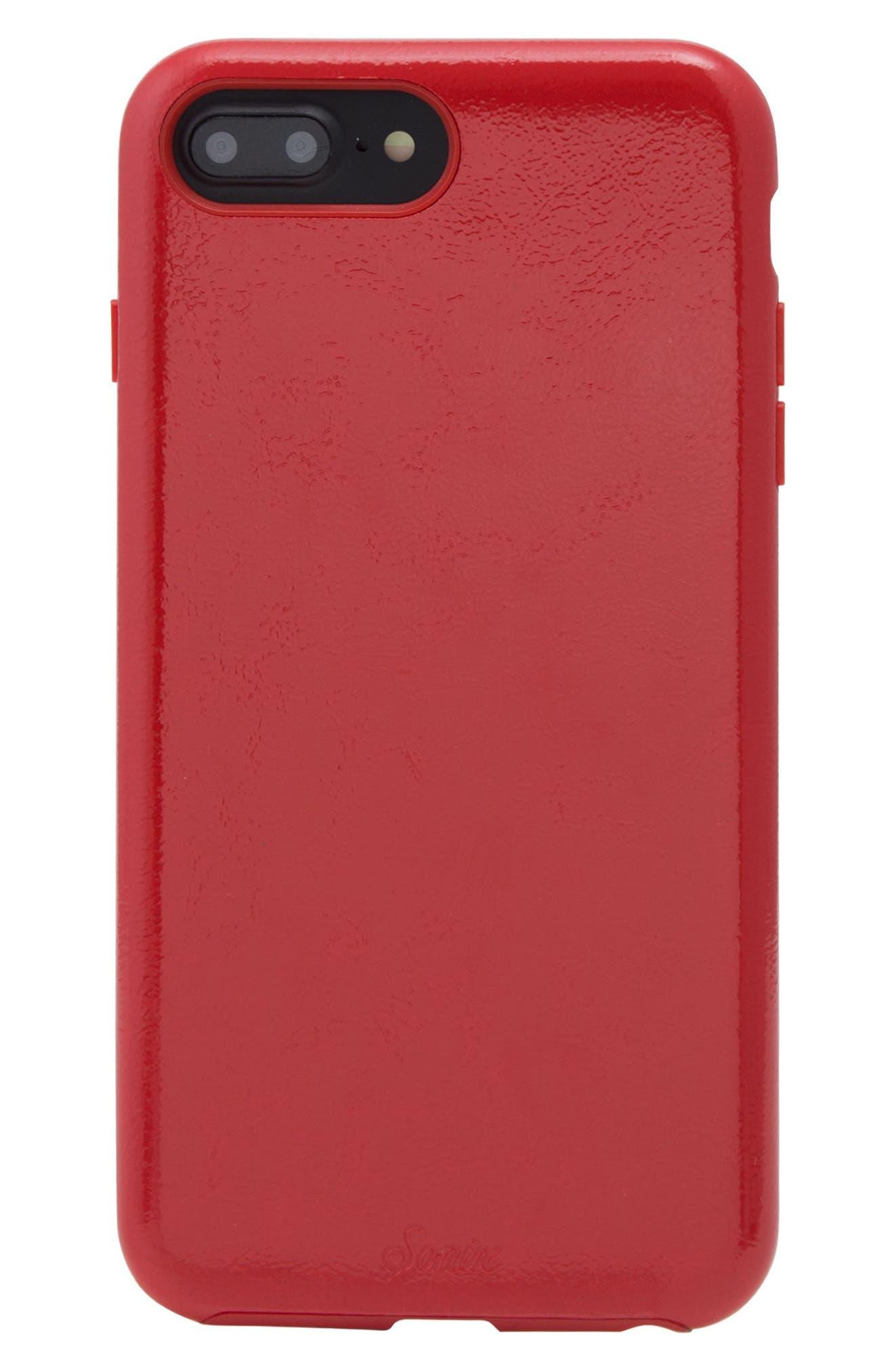 Cherry Faux Leather iPhone 6/6s/7/8 Plus Case,                             Main thumbnail 4, color,