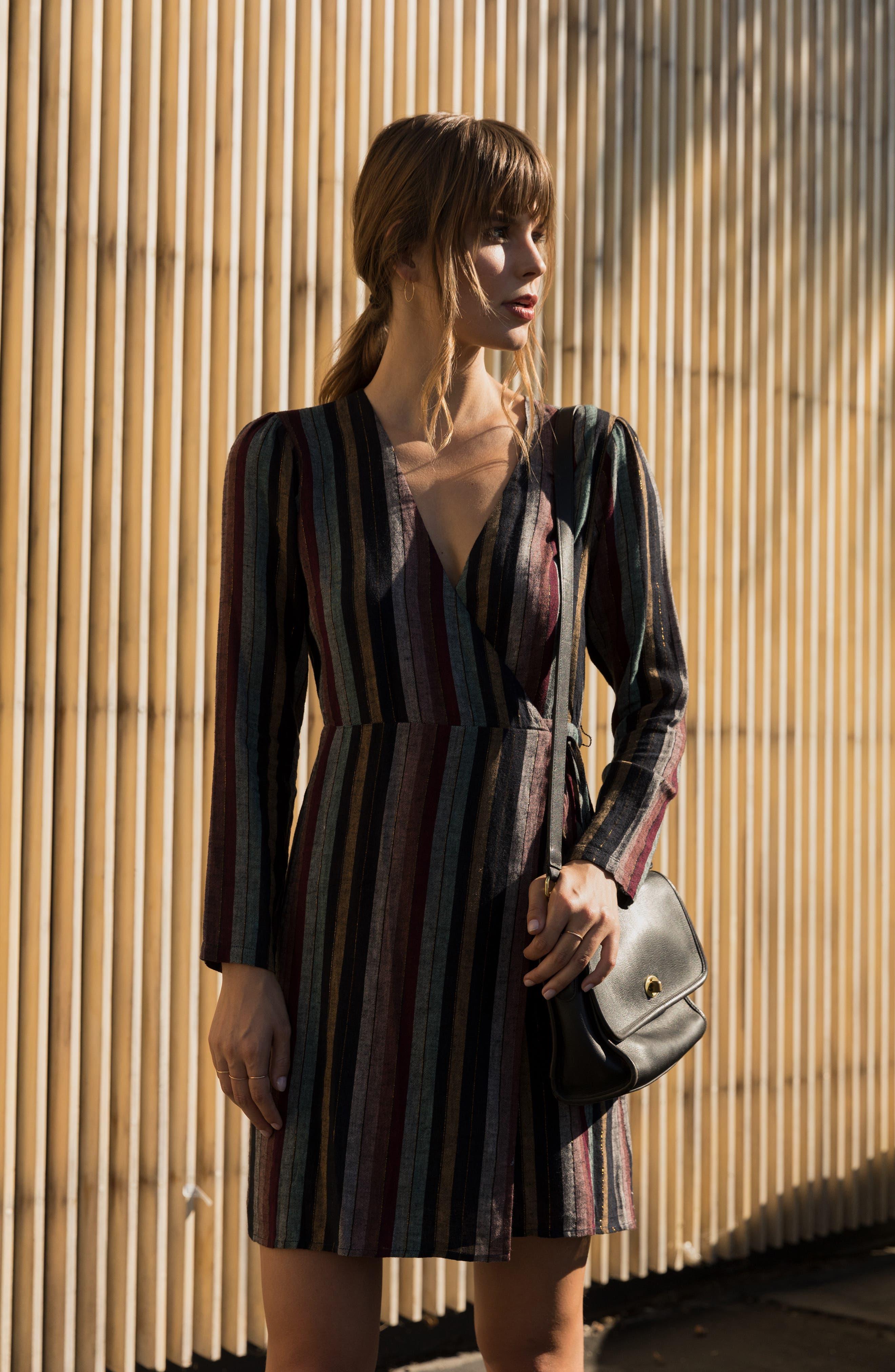 Lola Metallic Wrap Dress,                             Alternate thumbnail 2, color,                             VARADERO STRIPE
