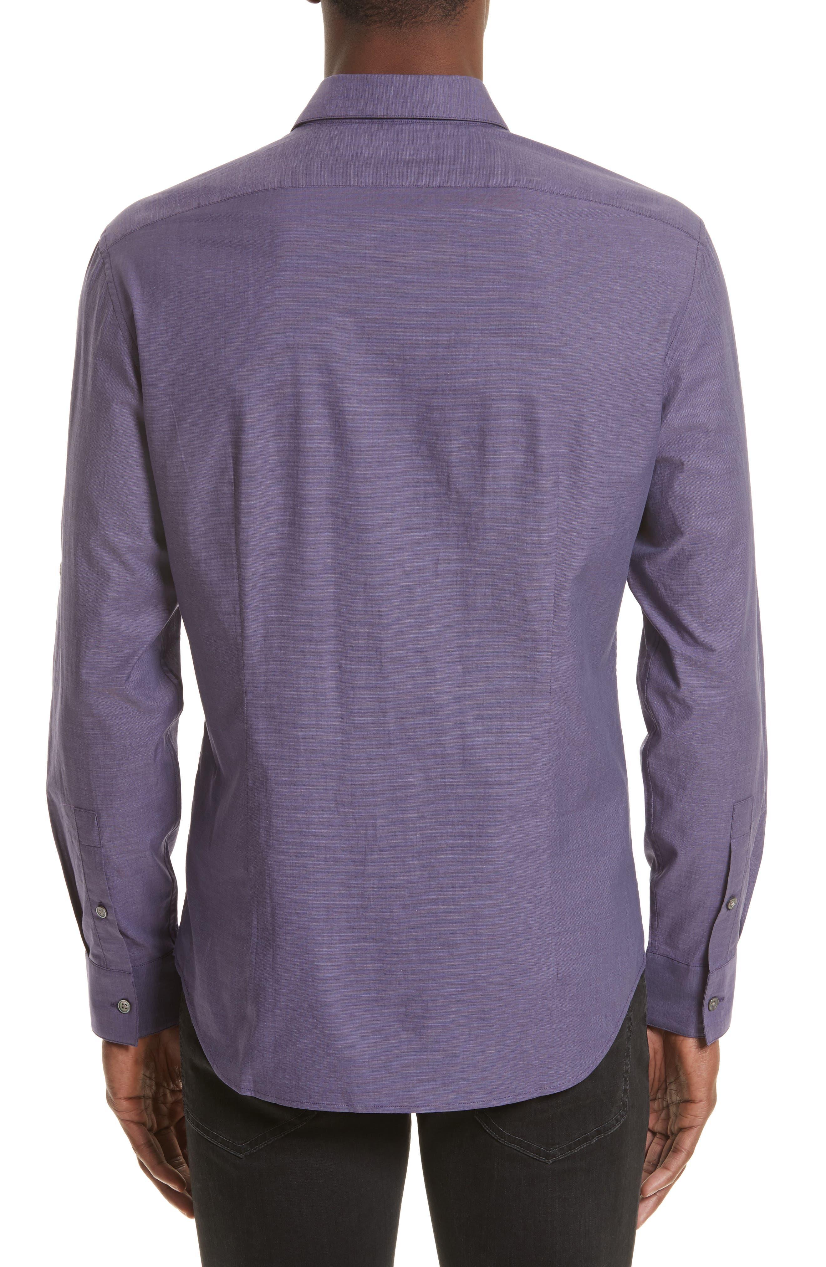 Roll Sleeve Cotton Sport Shirt,                             Alternate thumbnail 3, color,                             501