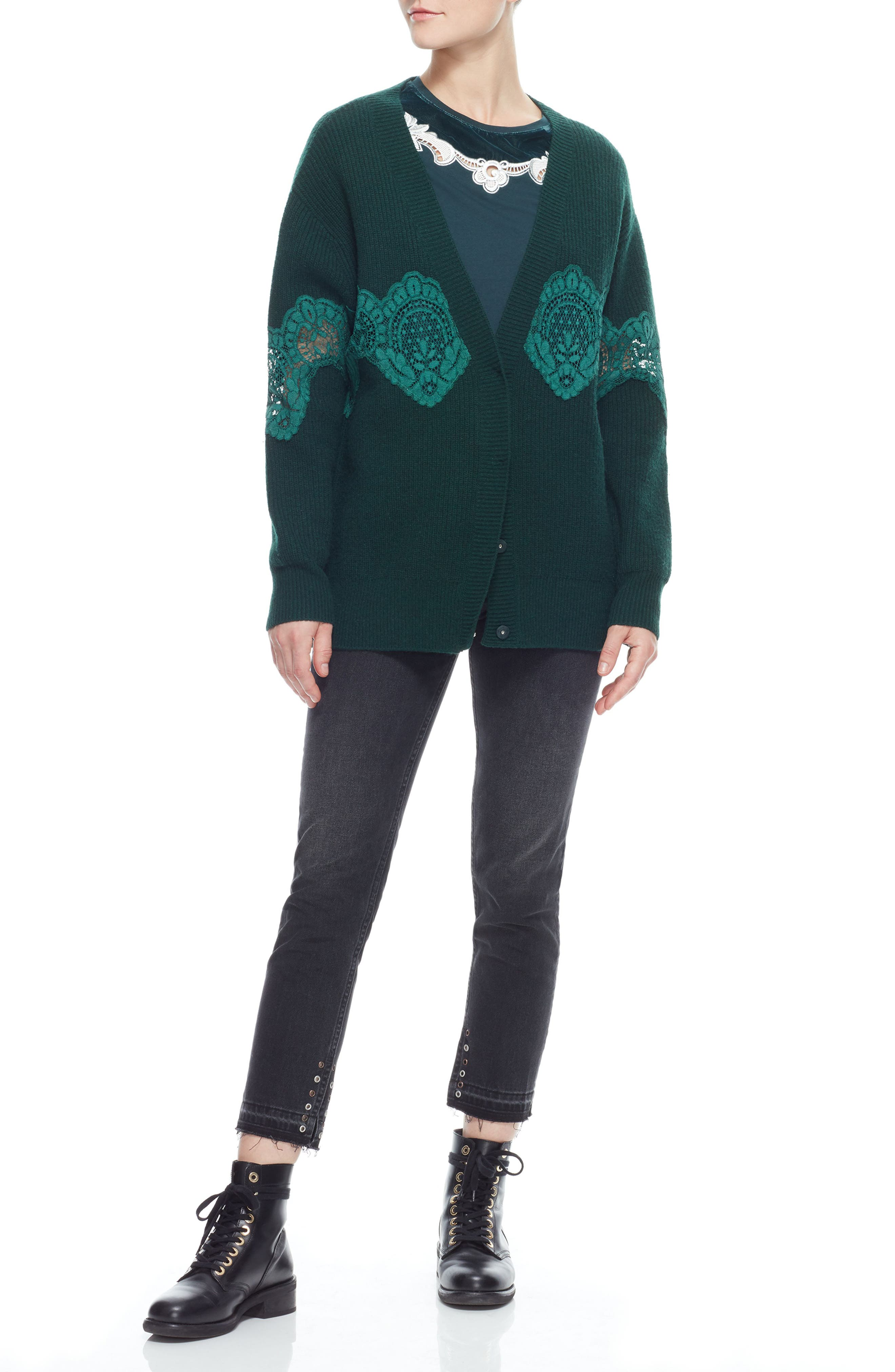 Tower Lace Inset Wool Blend Cardigan,                             Alternate thumbnail 7, color,                             BOTTLE GREEN