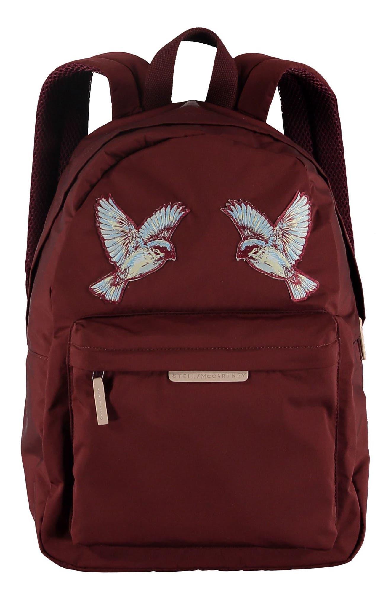 Hummingbird Appliqué Backpack,                         Main,                         color, BURGUNDY