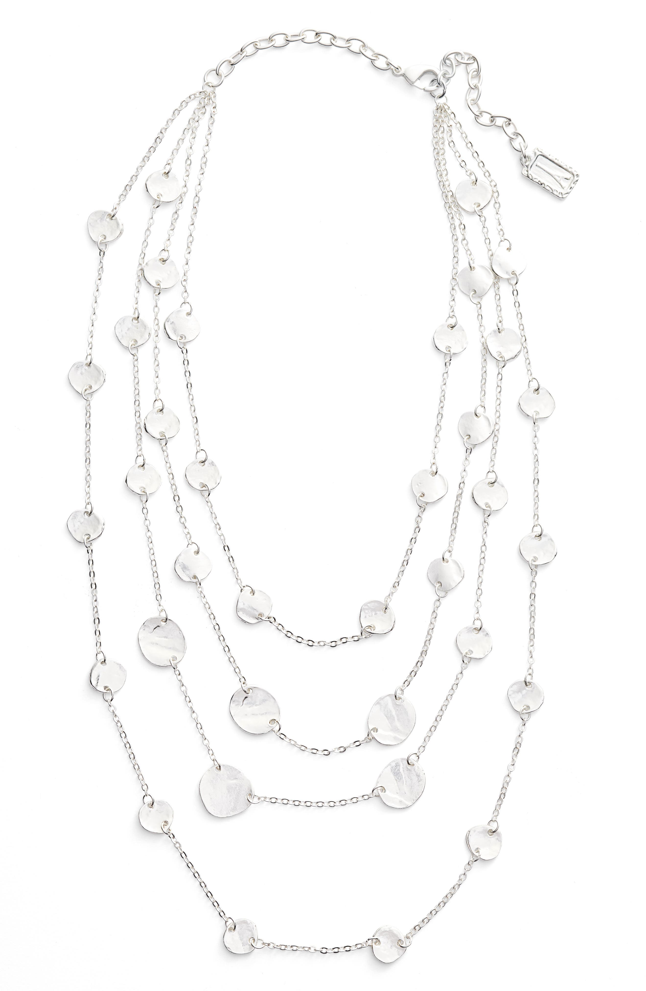 Manon Layered Necklace,                         Main,                         color, SILVER