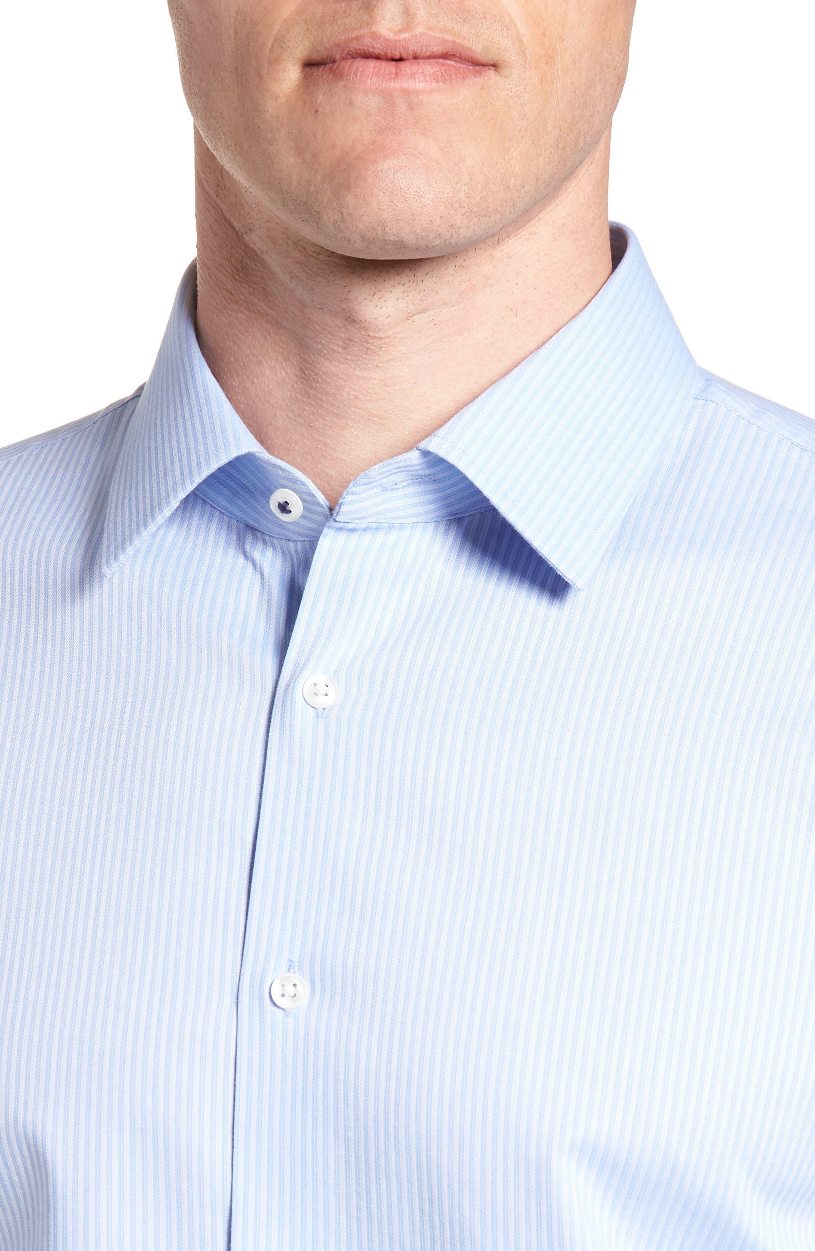 Tech-Smart Trim Fit Stretch Stripe Dress Shirt,                             Alternate thumbnail 2, color,                             450