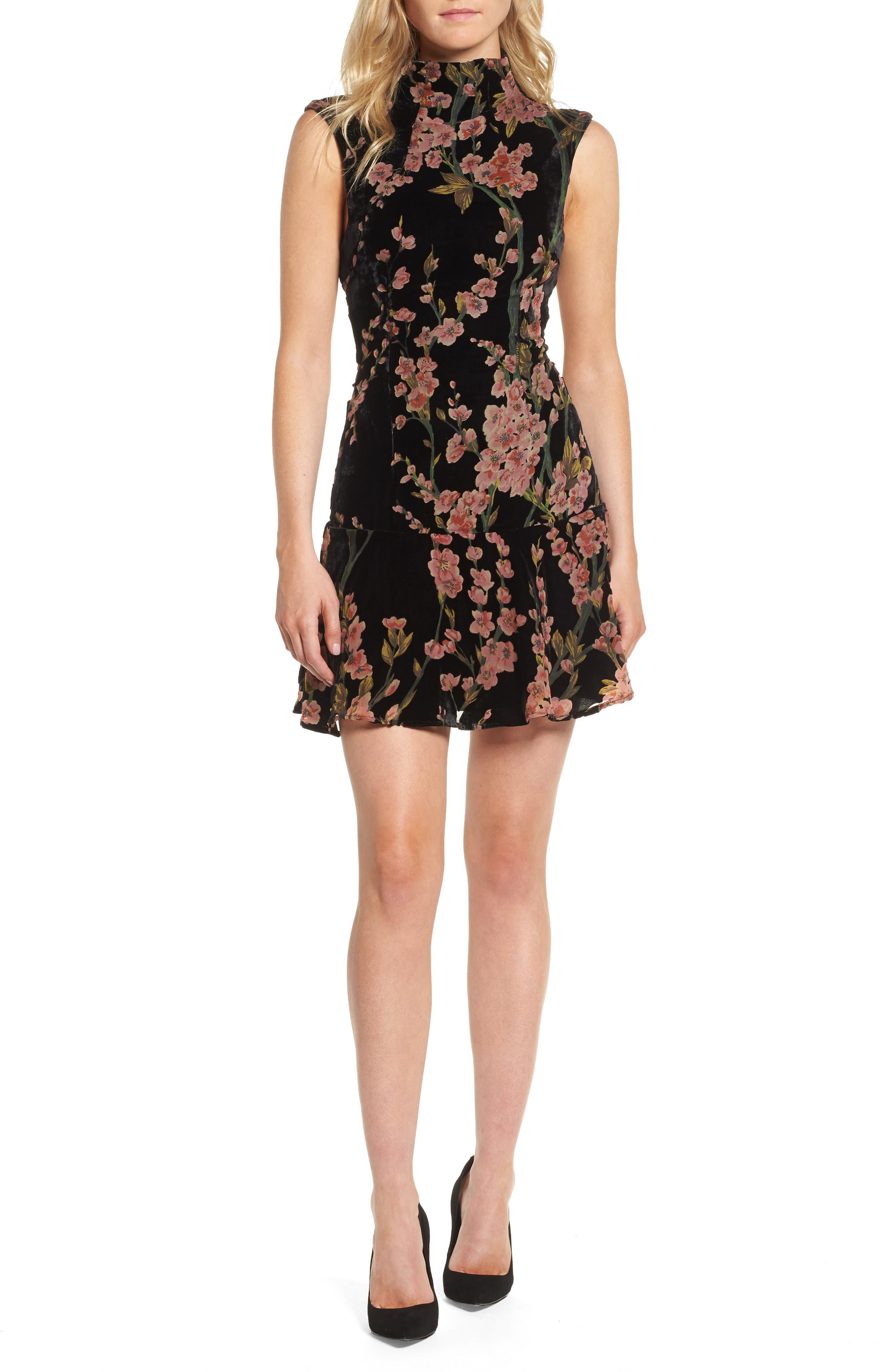 Salon Velvet Minidress,                         Main,                         color,