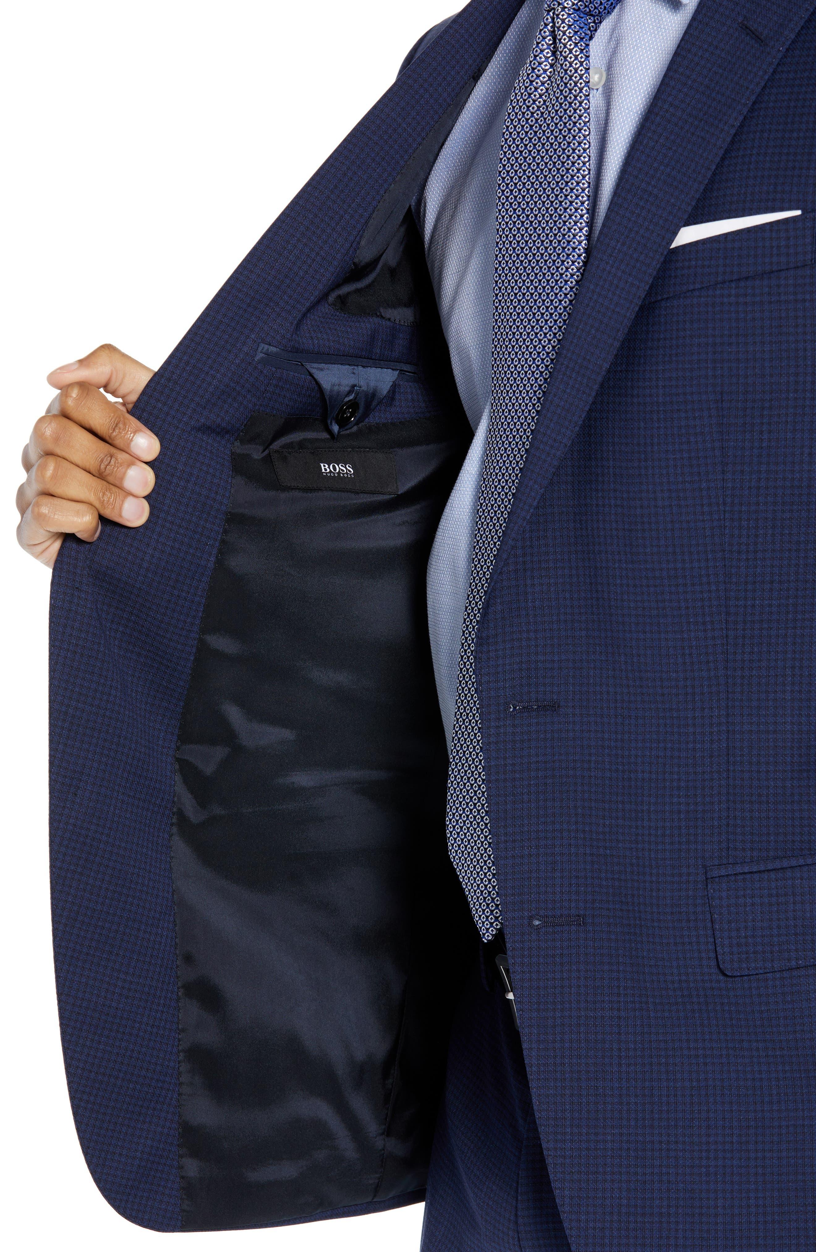 Huge/Genius Trim Fit Solid Wool Suit,                             Alternate thumbnail 4, color,                             DARK BLUE