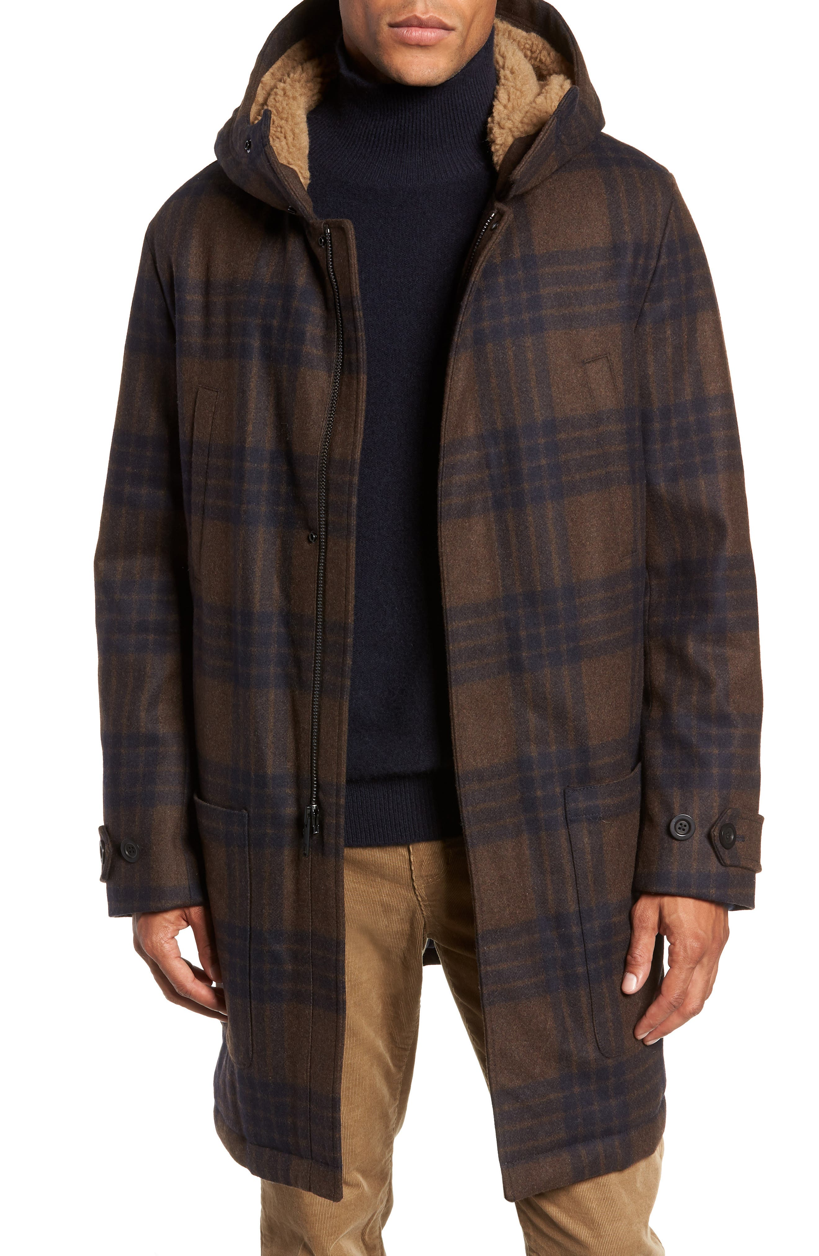 Plaid Duffle Coat with Faux Shearling Trim,                         Main,                         color, H. REDWOOD