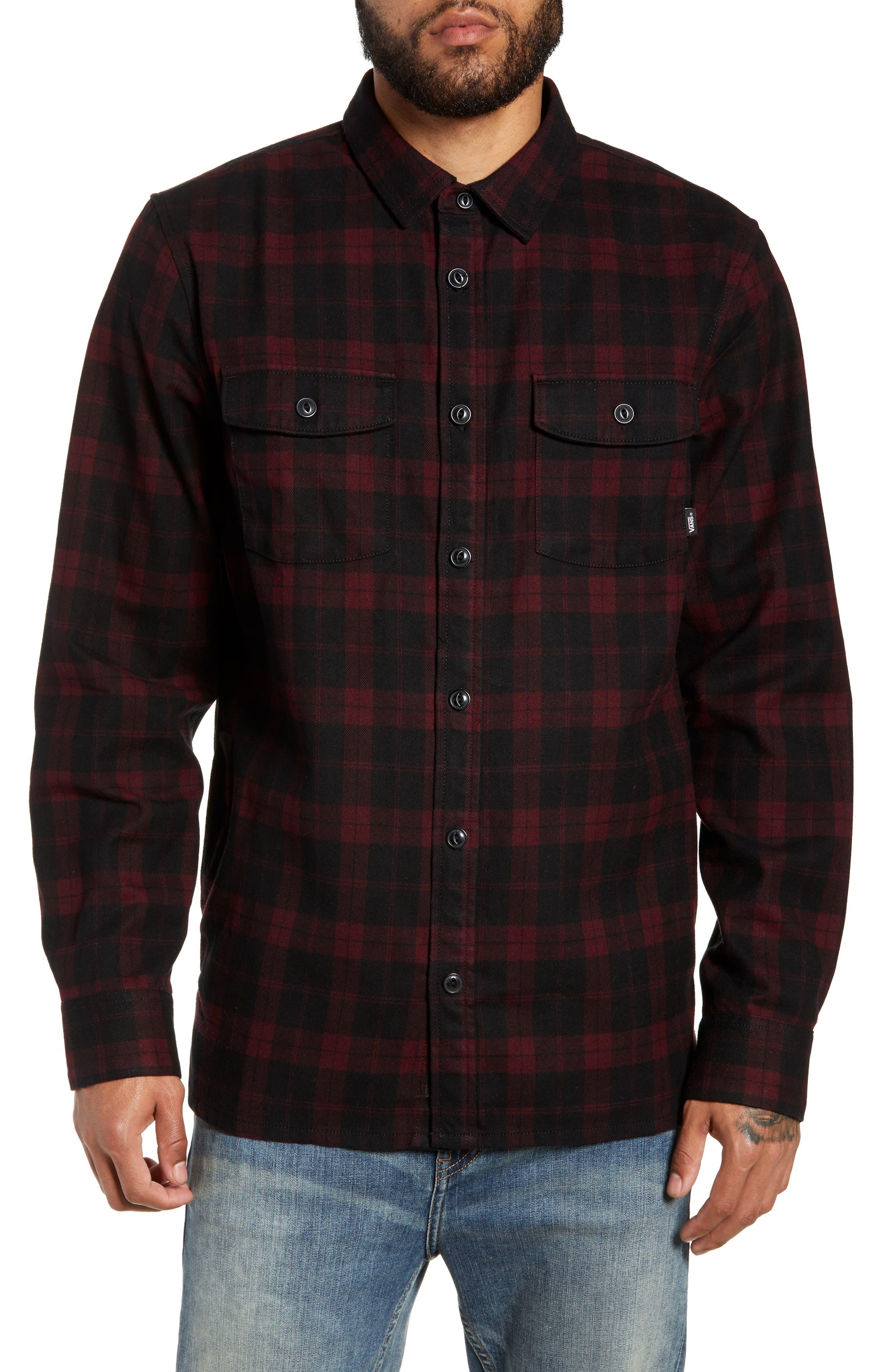 Vans Blackstone Plaid Flannel Shirt, Burgundy