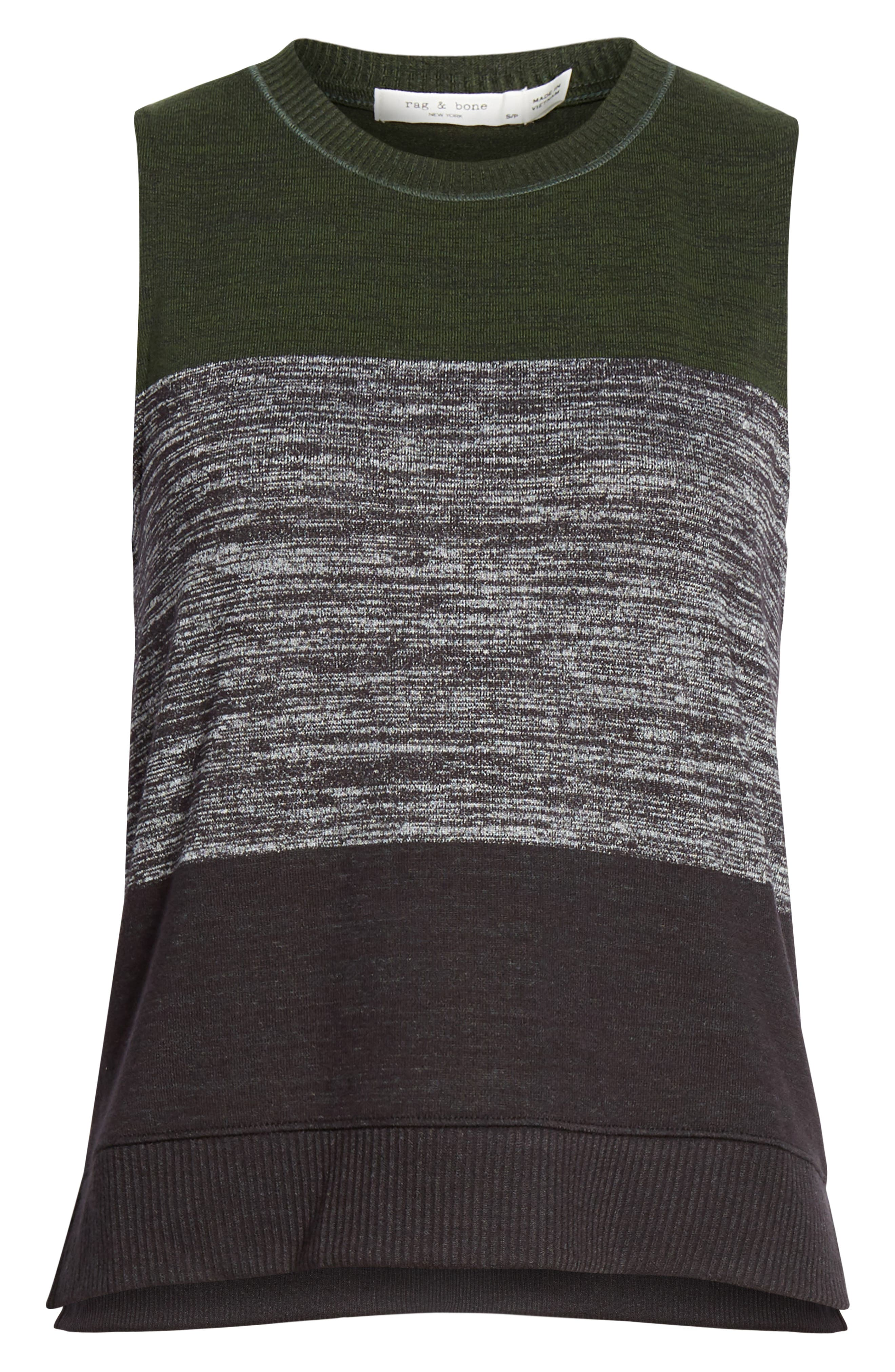 JEAN Bowery Colorblock Muscle Tank,                             Alternate thumbnail 6, color,                             EMERALD STRIPE