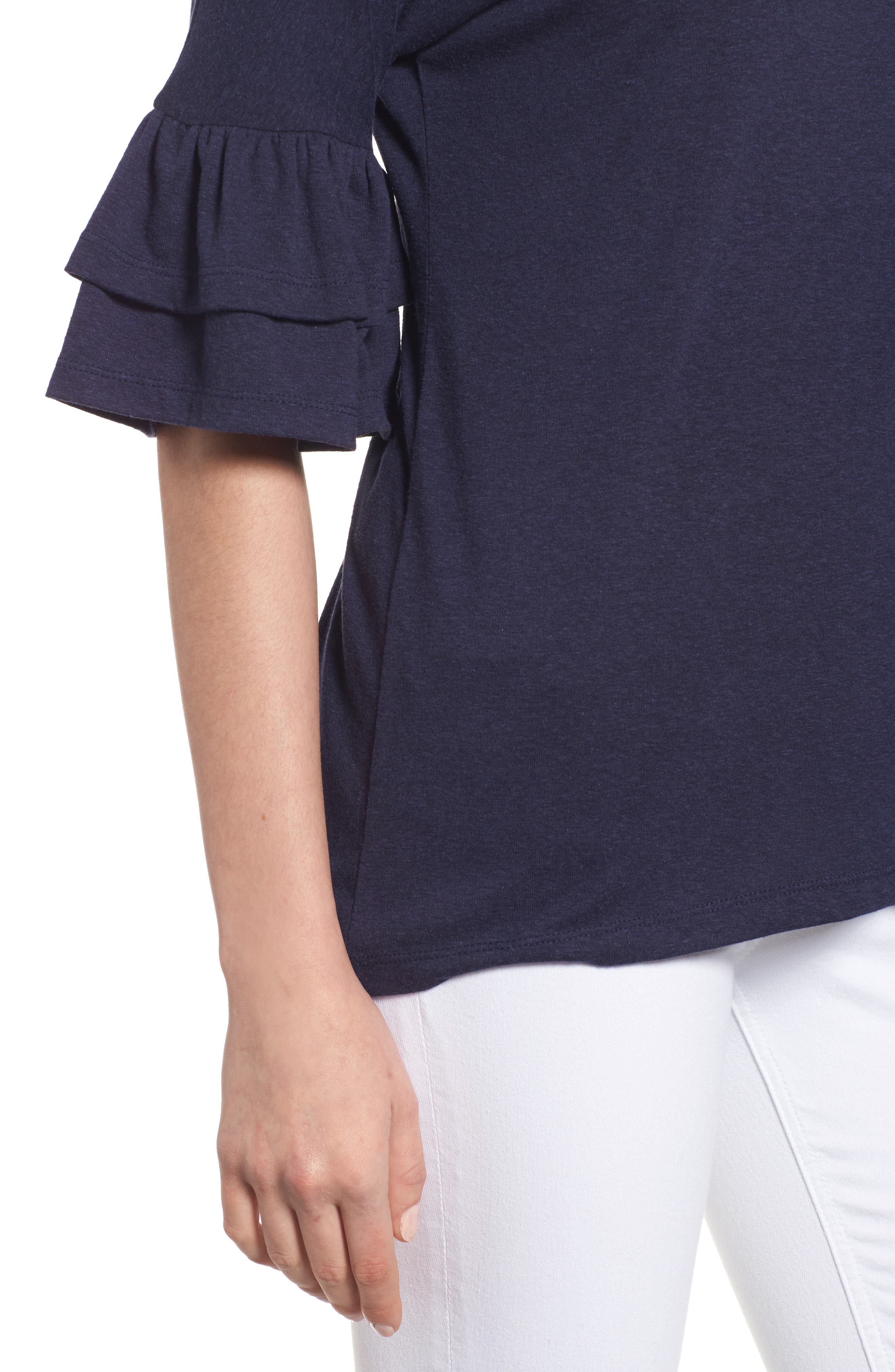 Tiered Bell Sleeve Tee,                             Alternate thumbnail 30, color,
