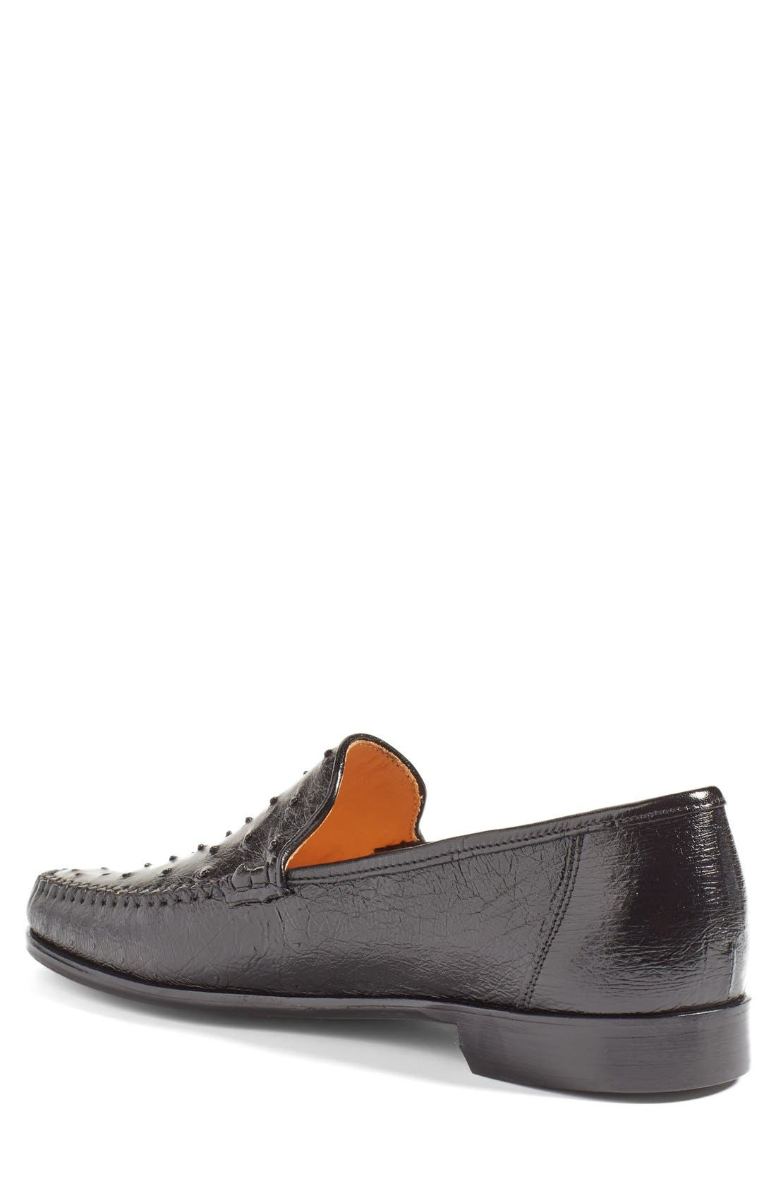 'Struzzo' Ostrich Slip-On Loafer,                             Alternate thumbnail 3, color,
