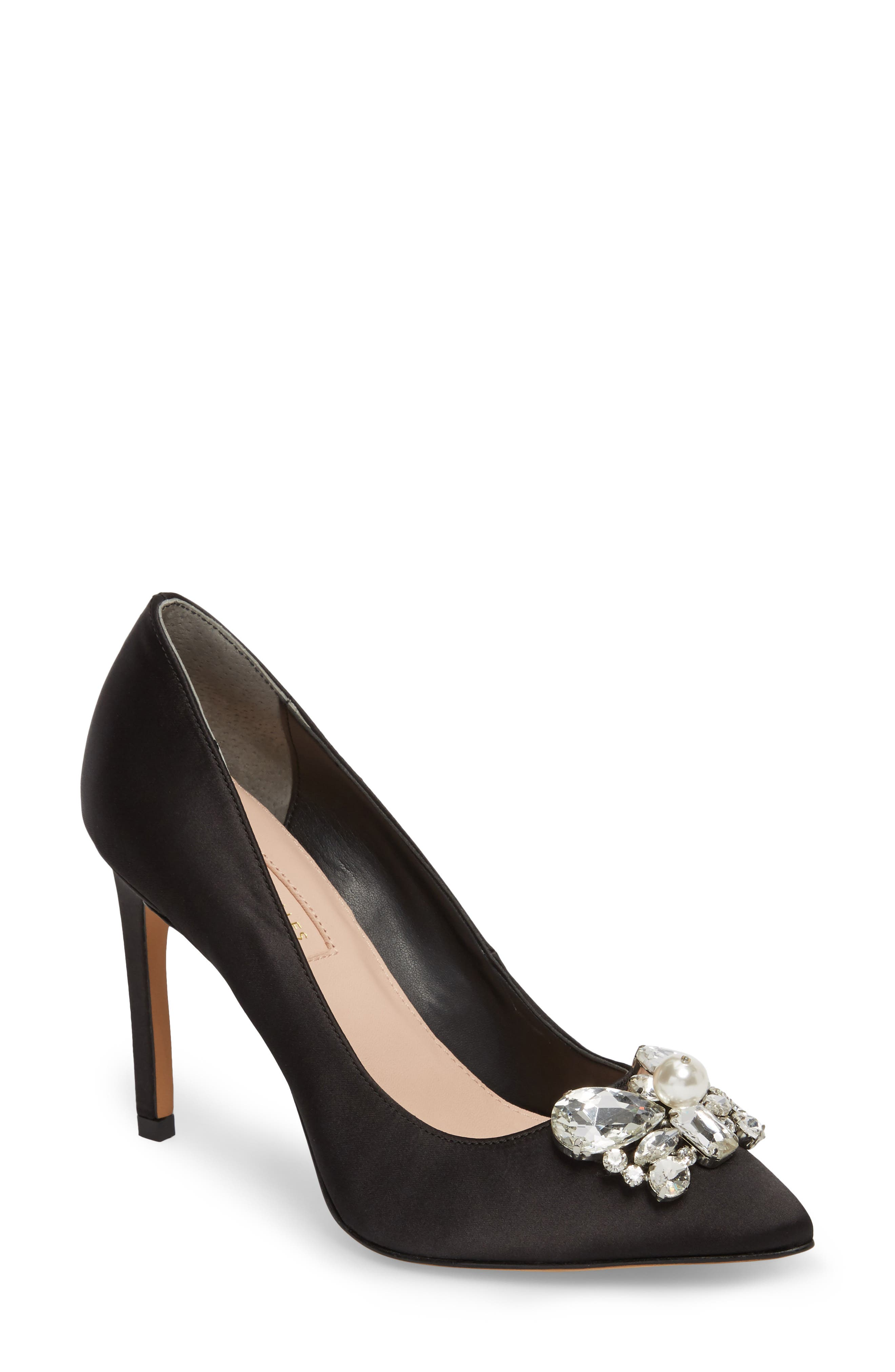 Chiara Embellished Pointy Toe Pump,                         Main,                         color, 001