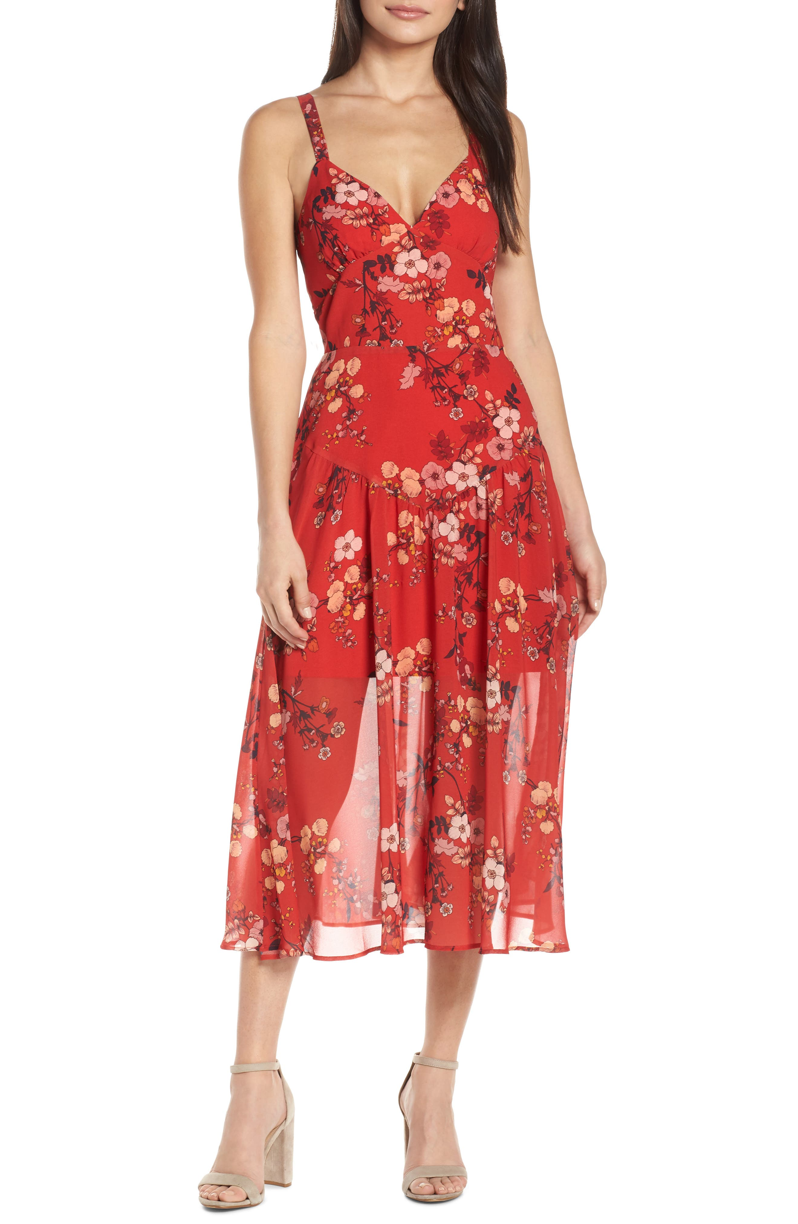Cooper St Disco Floral Print Midi Dress, Red