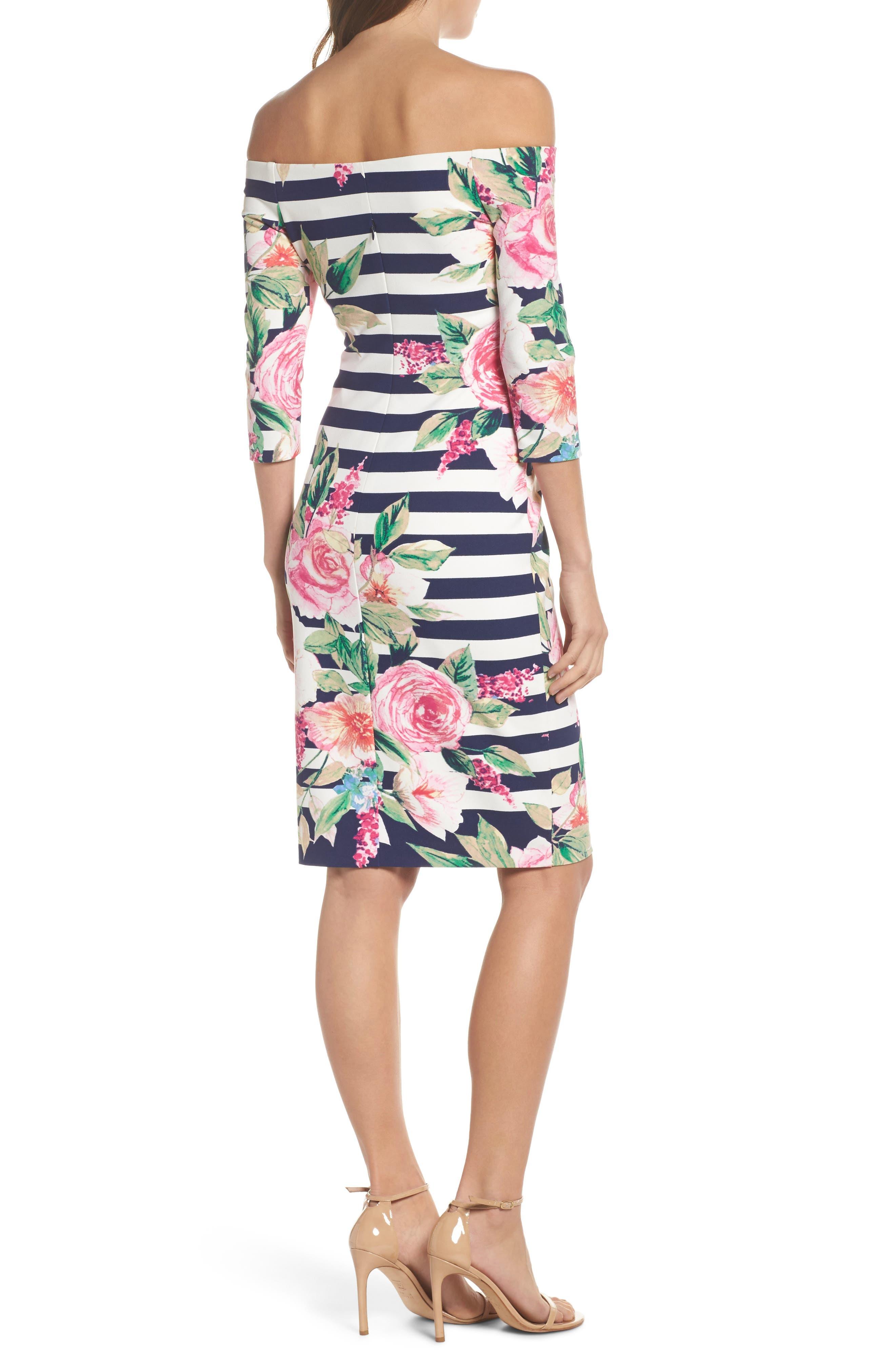 Stripe Off the Shoulder Dress,                             Alternate thumbnail 2, color,                             470