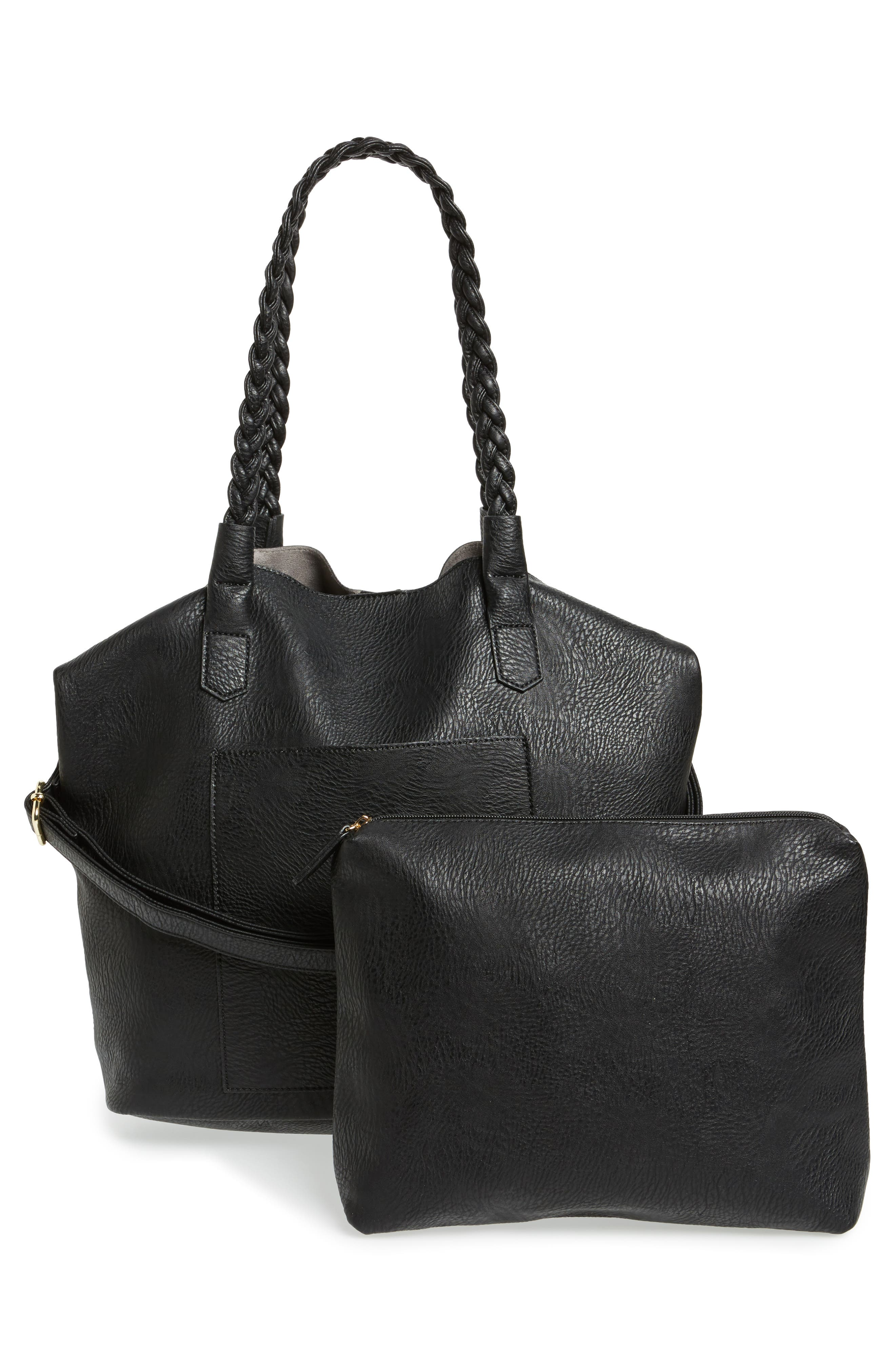 Slouchy Faux Leather Tote with Pouch,                             Alternate thumbnail 2, color,                             001