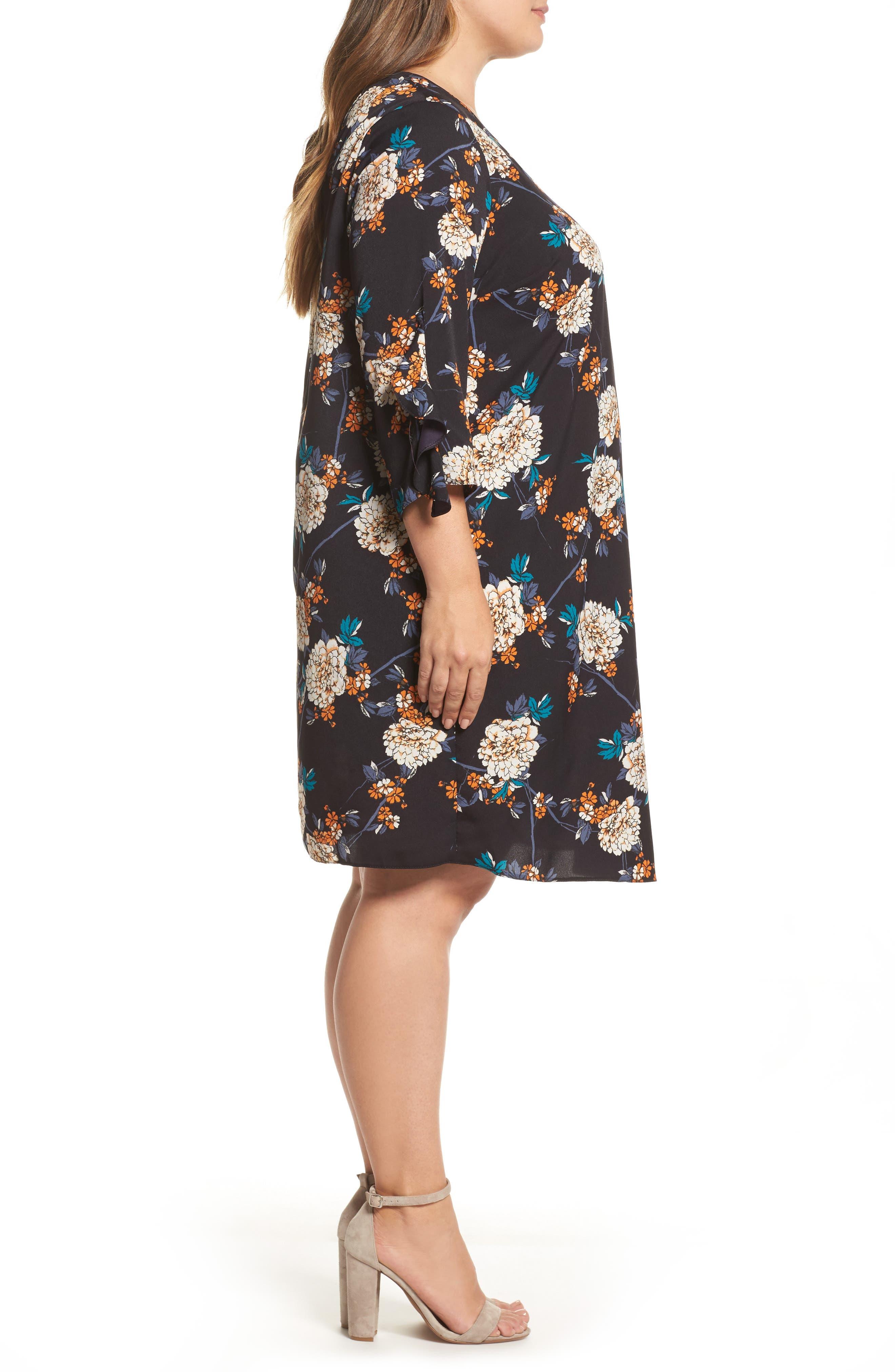 Floral Print Ruffle Sleeve Shift Dress,                             Alternate thumbnail 3, color,                             400
