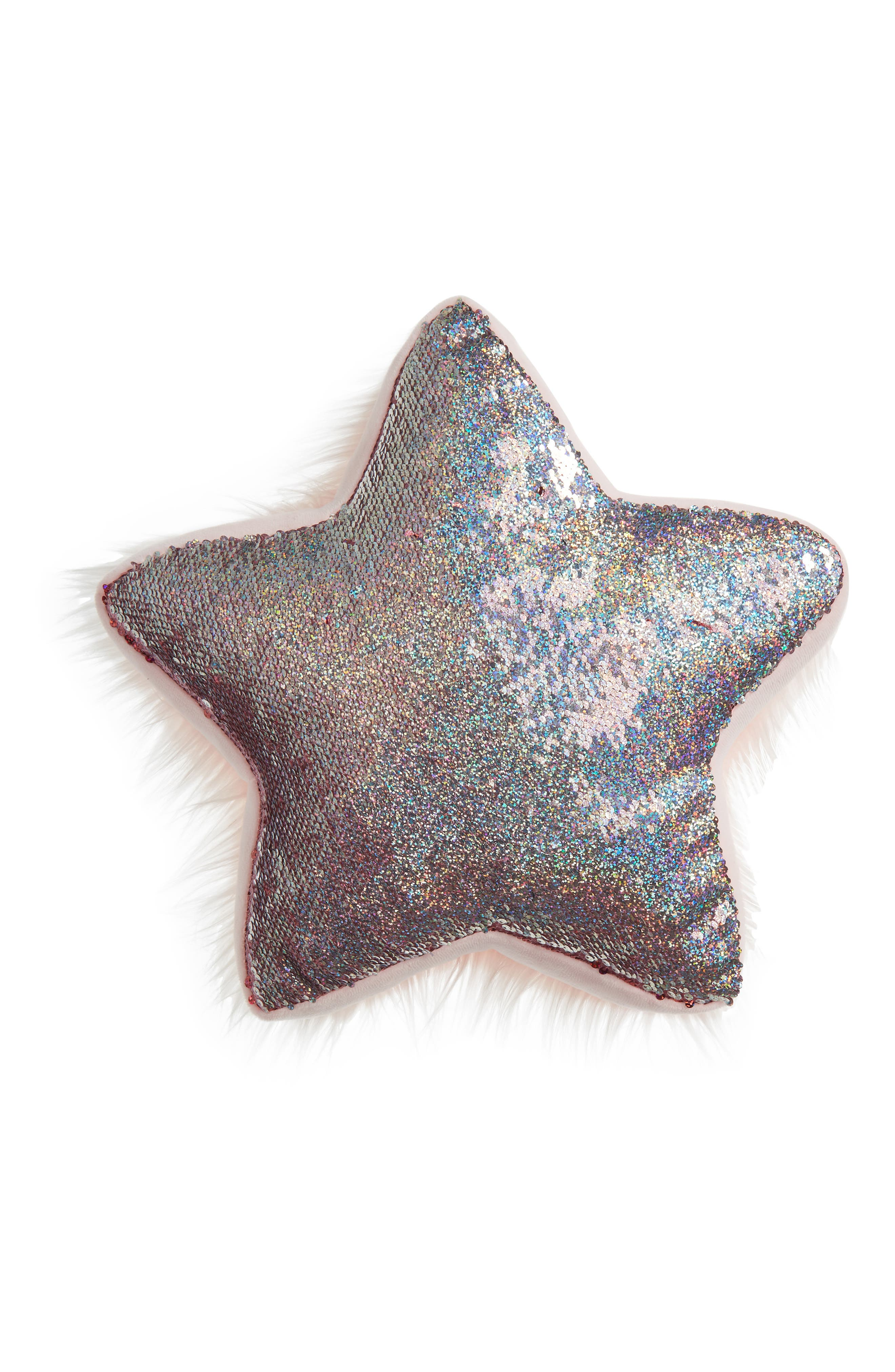 Flip Sequin/Faux Fur Reversible Star Accent Pillow,                             Alternate thumbnail 4, color,                             PINK COMBO