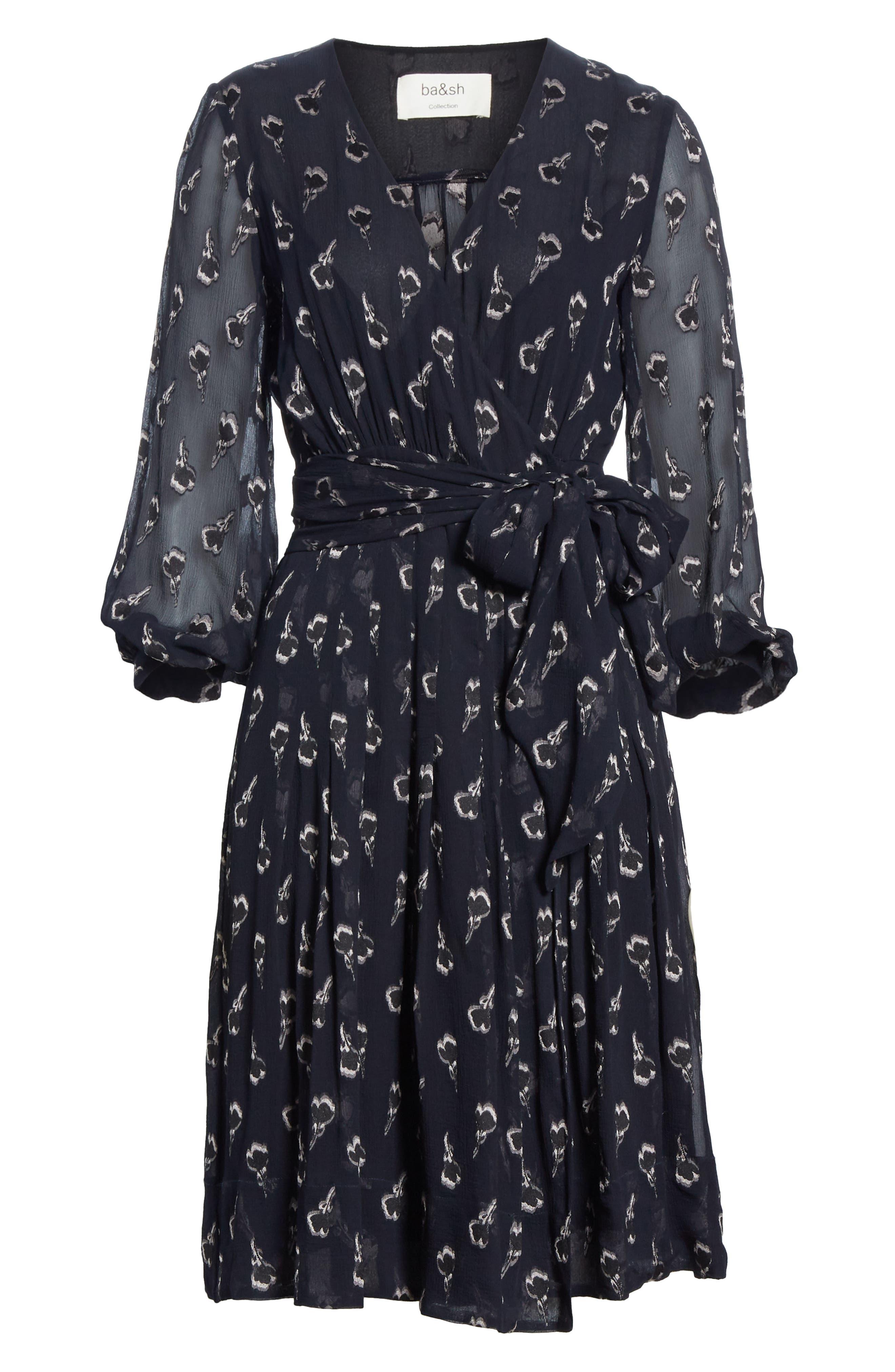 Memory Floral Silk Chiffon Dress,                             Alternate thumbnail 6, color,                             NOIR
