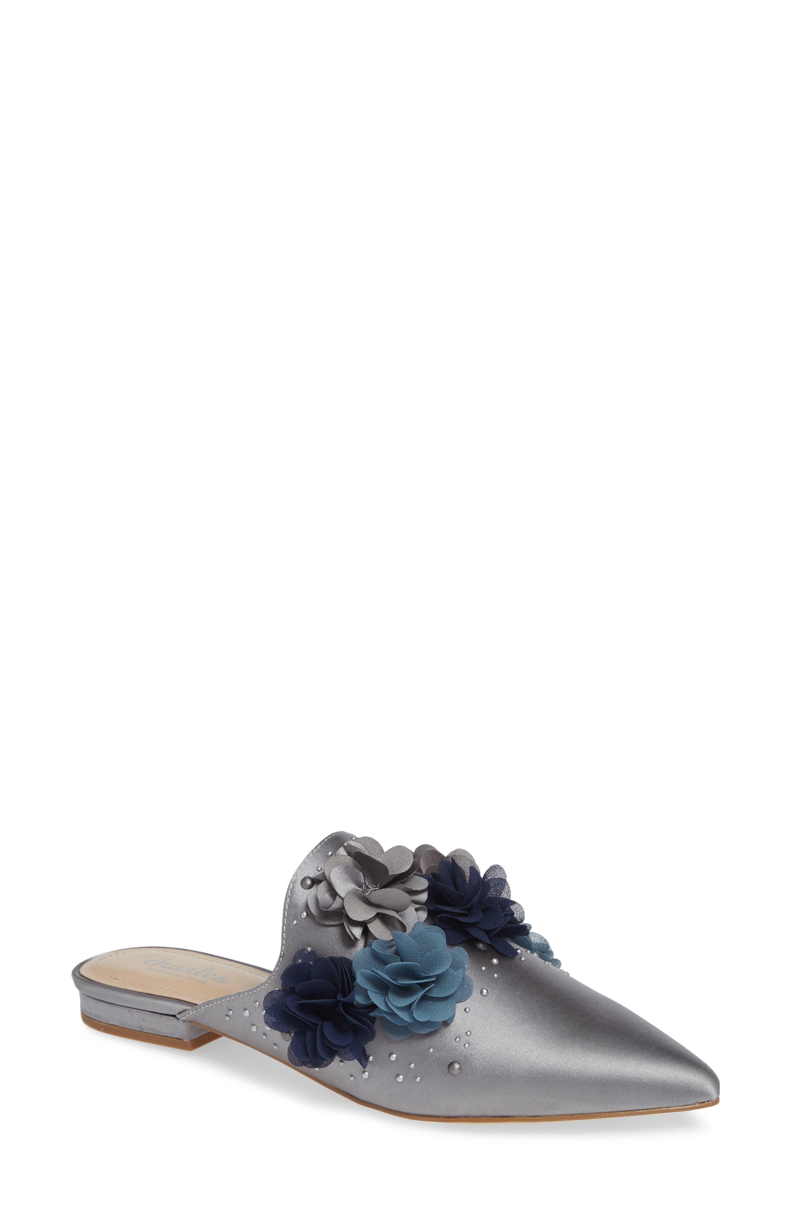 CHARLES BY CHARLES DAVID Wesley Flower Applique Satin Embellished Sandals in Blue