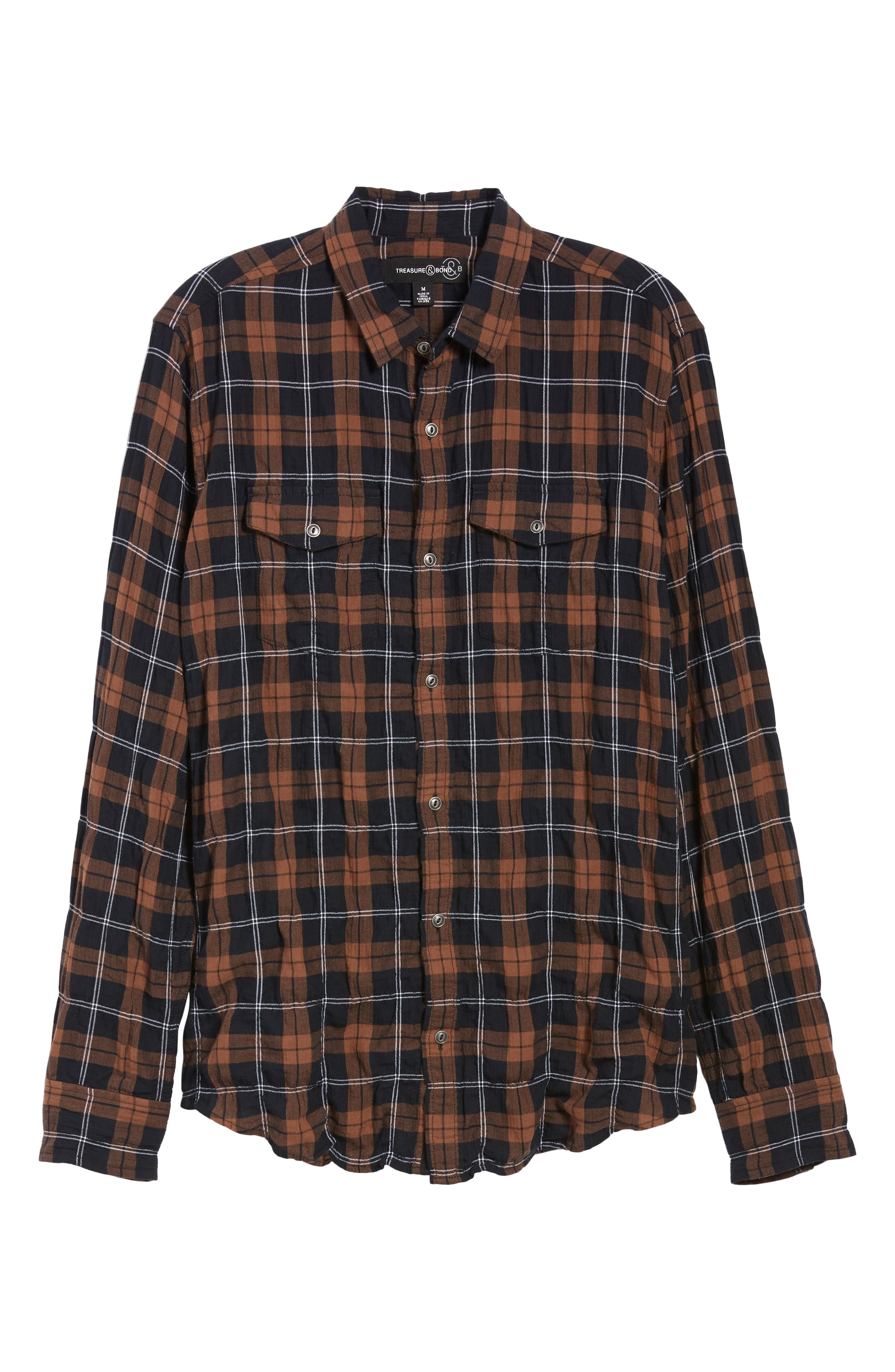 Regular Fit Plaid Sport Shirt,                             Alternate thumbnail 6, color,                             BLACK BROWN SMITH PLAID