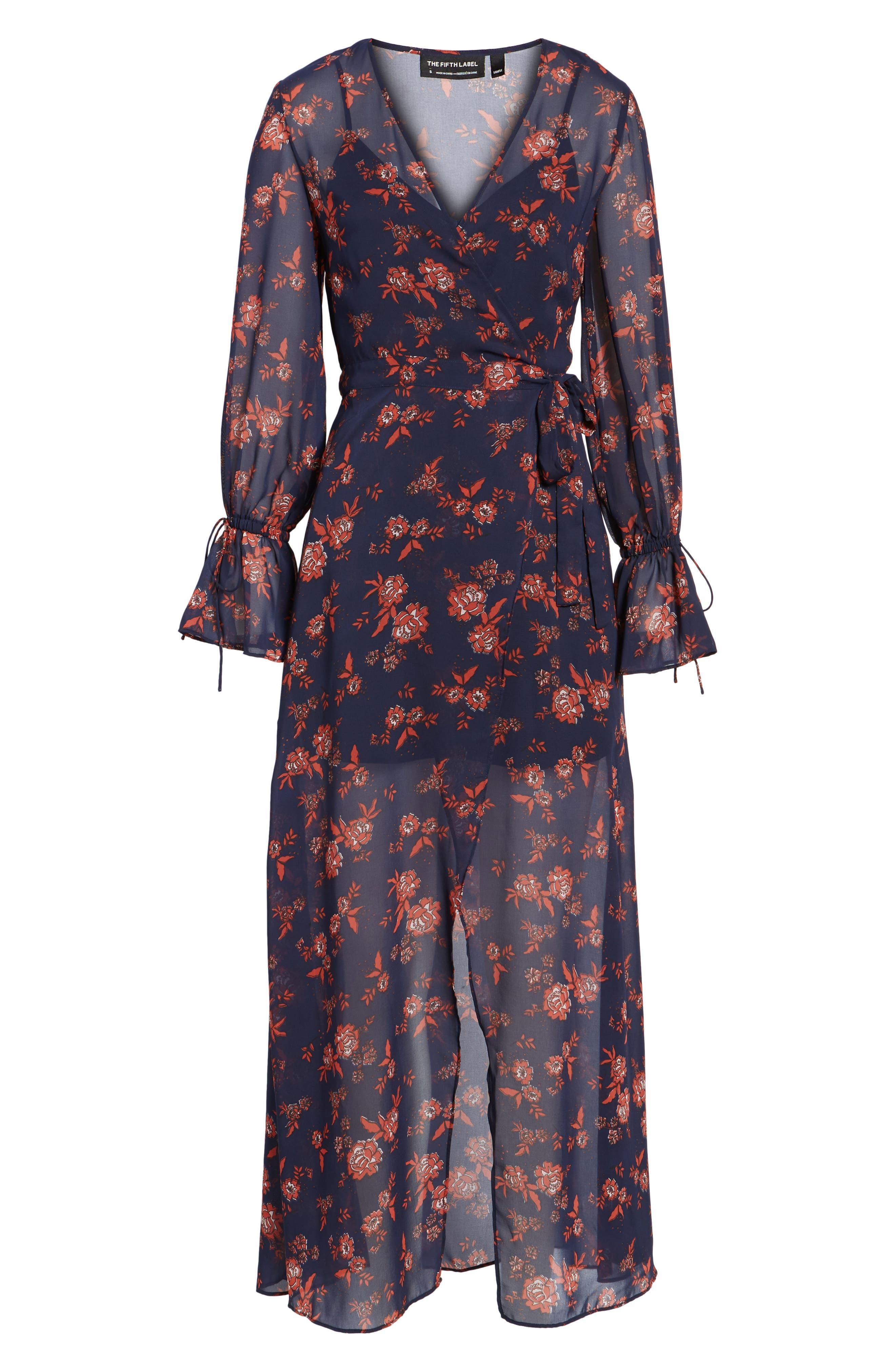 Capital Floral Wrap Maxi Dress,                             Alternate thumbnail 6, color,                             413