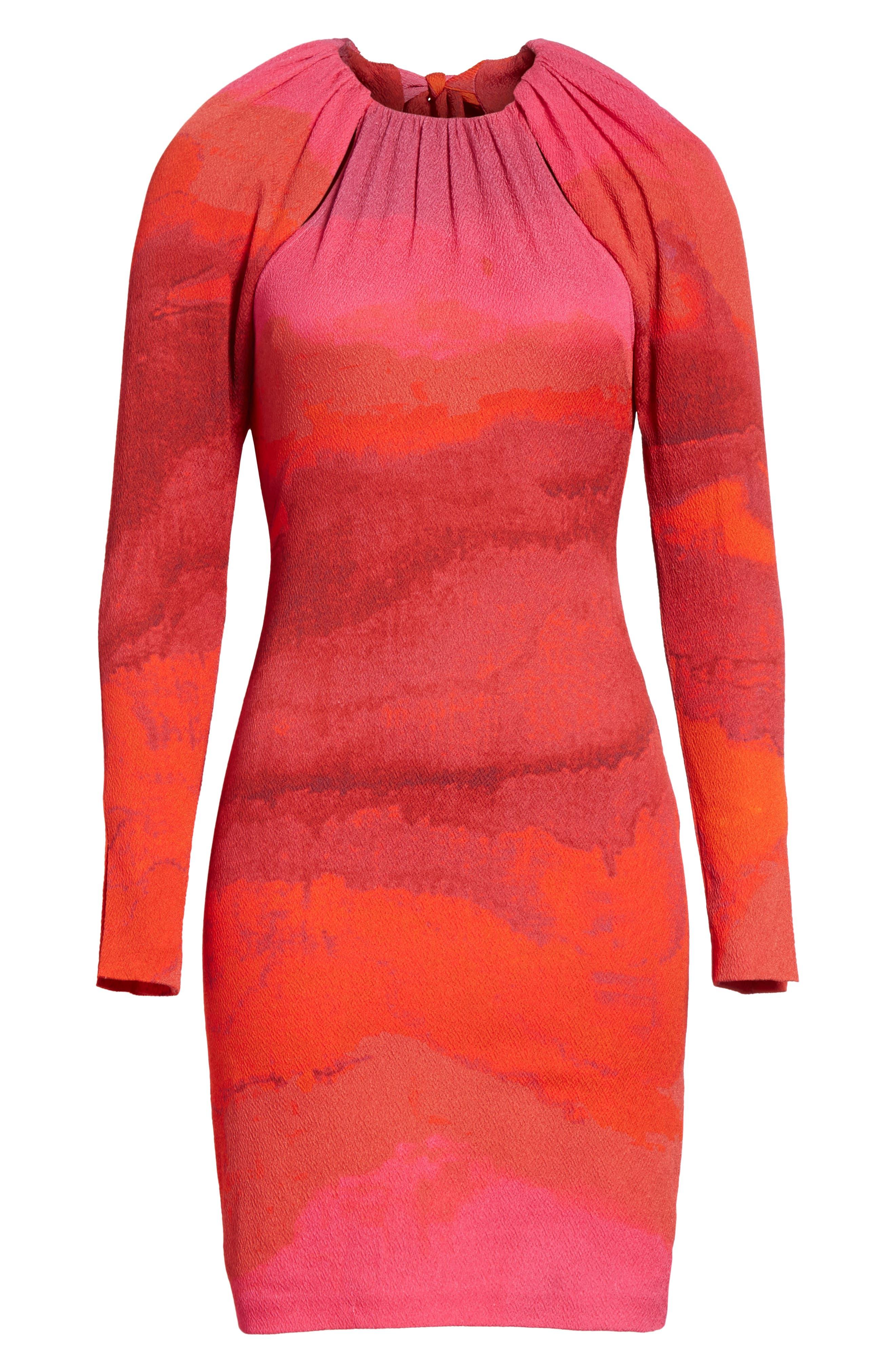 Abstract Print Stretch Silk Sheath Dress,                             Alternate thumbnail 6, color,                             605