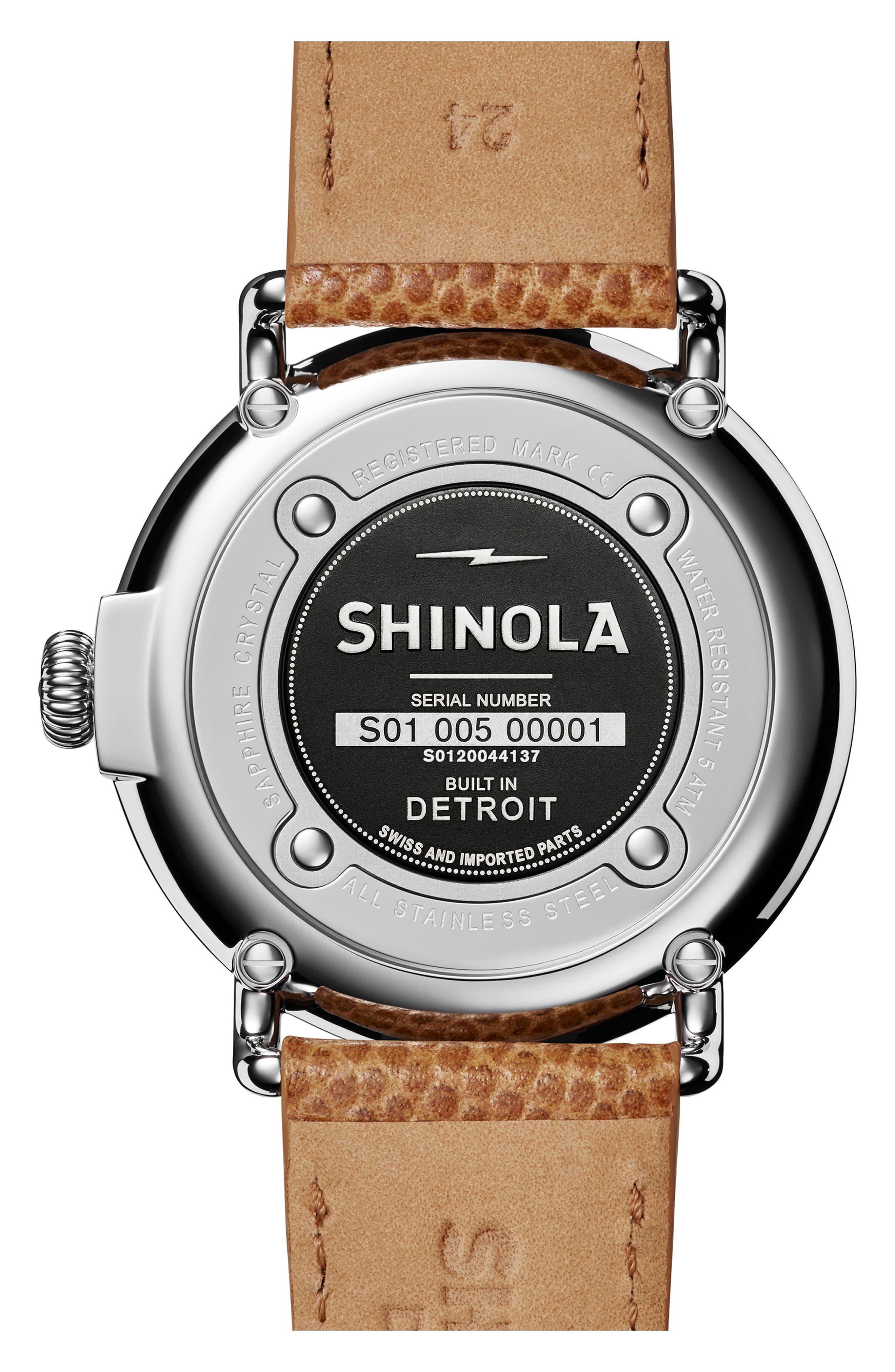 Runwell Leather Strap Watch, 47mm,                             Alternate thumbnail 2, color,                             DARK CAMEL/ BRUSHED DARK