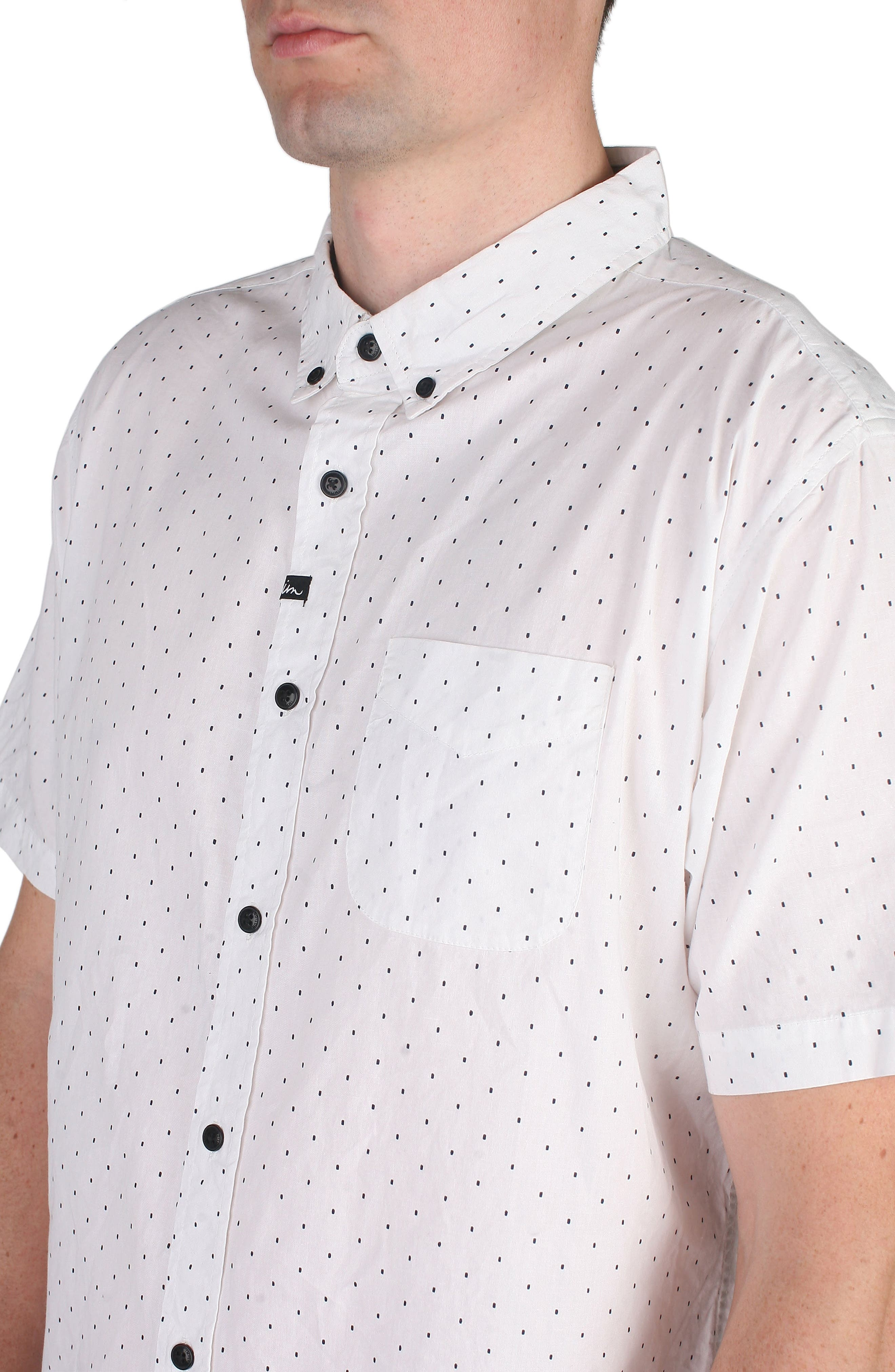 Winston Dot Print Woven Shirt,                             Alternate thumbnail 4, color,                             100