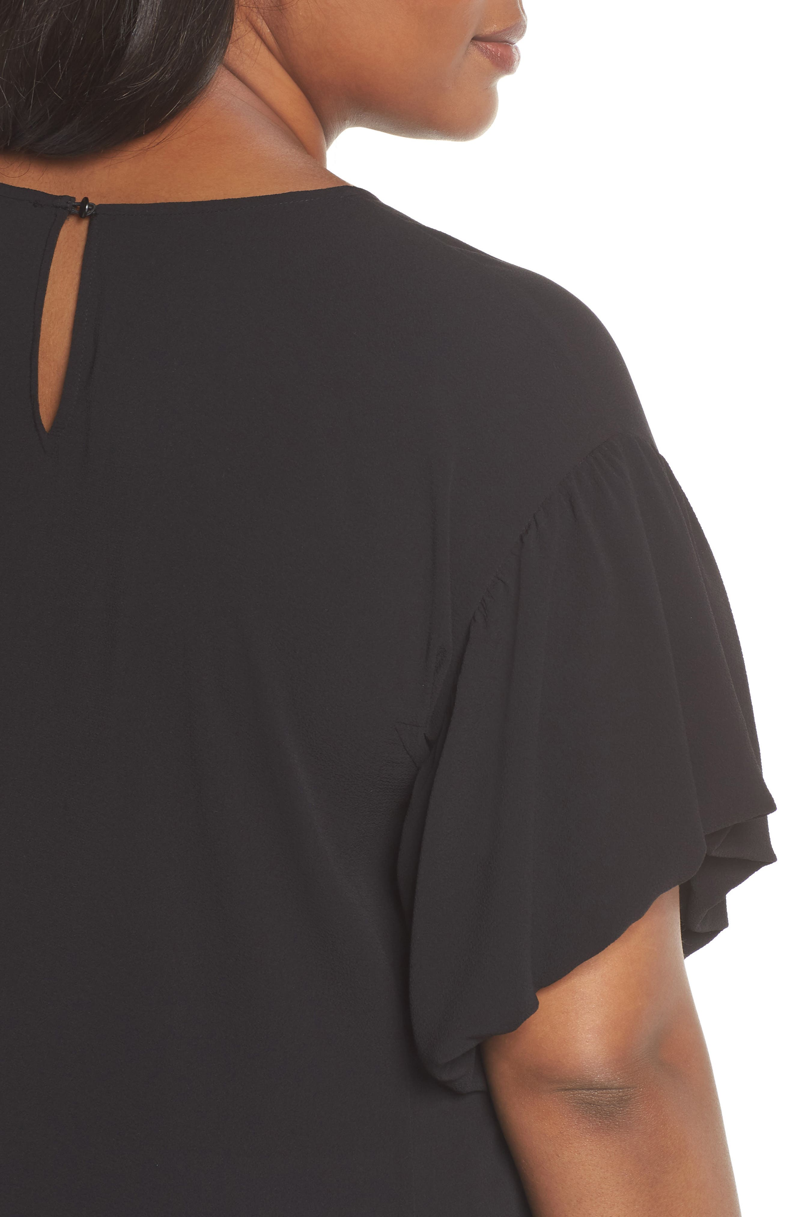 Bubble Sleeve Blouse,                             Alternate thumbnail 4, color,                             RICH BLACK