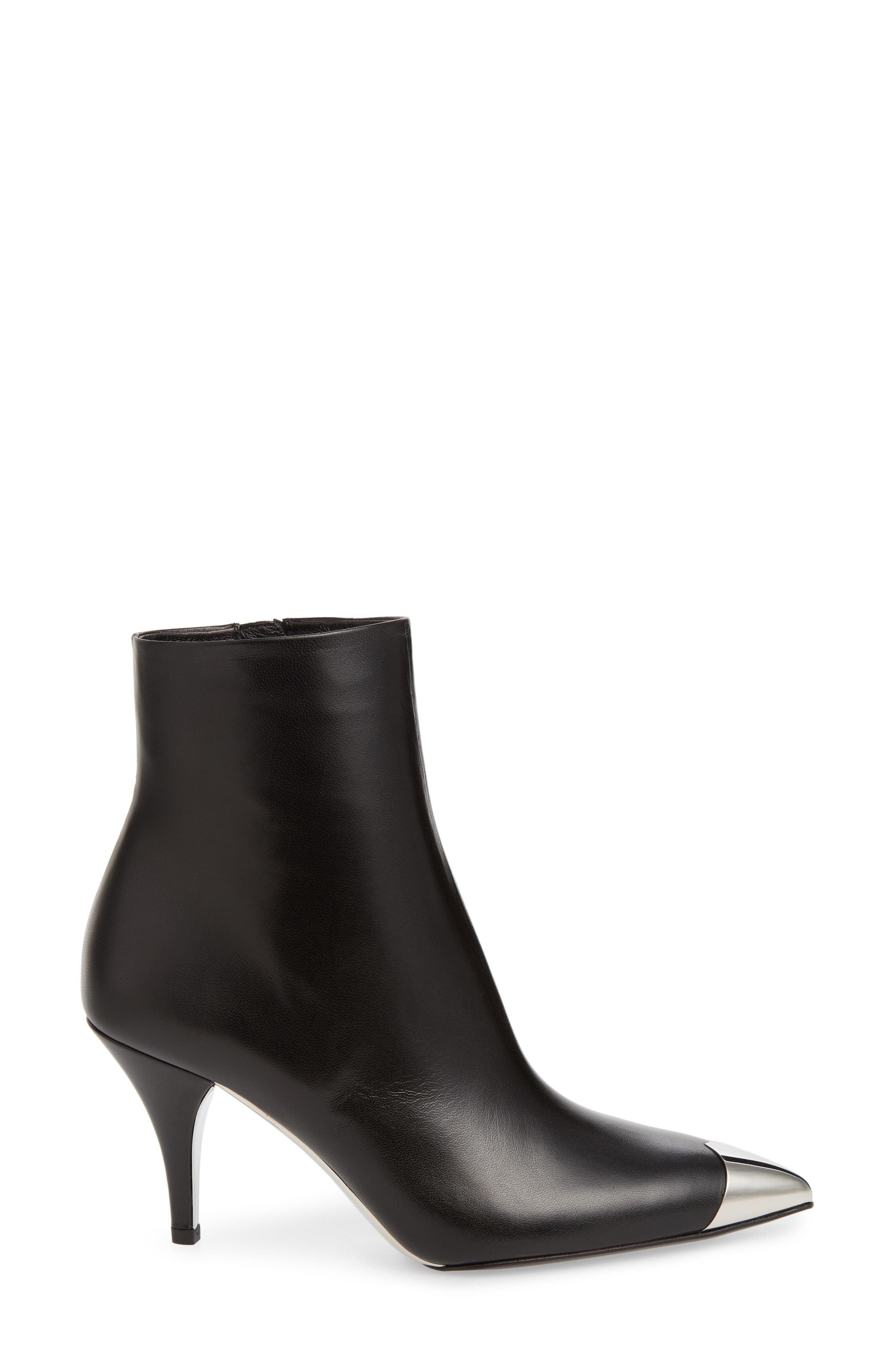 Rosella Cap Pointy Toe Bootie,                             Alternate thumbnail 3, color,                             BLACK