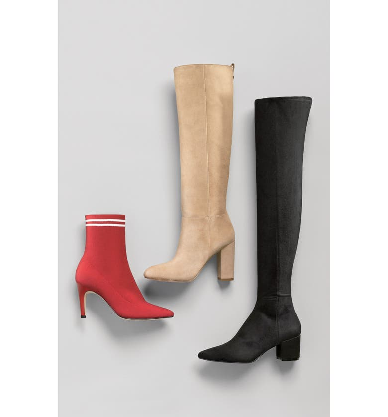 31c74f23a78 Steve Madden Brinkley Over The Knee Stretch Boot In Black Suede ...