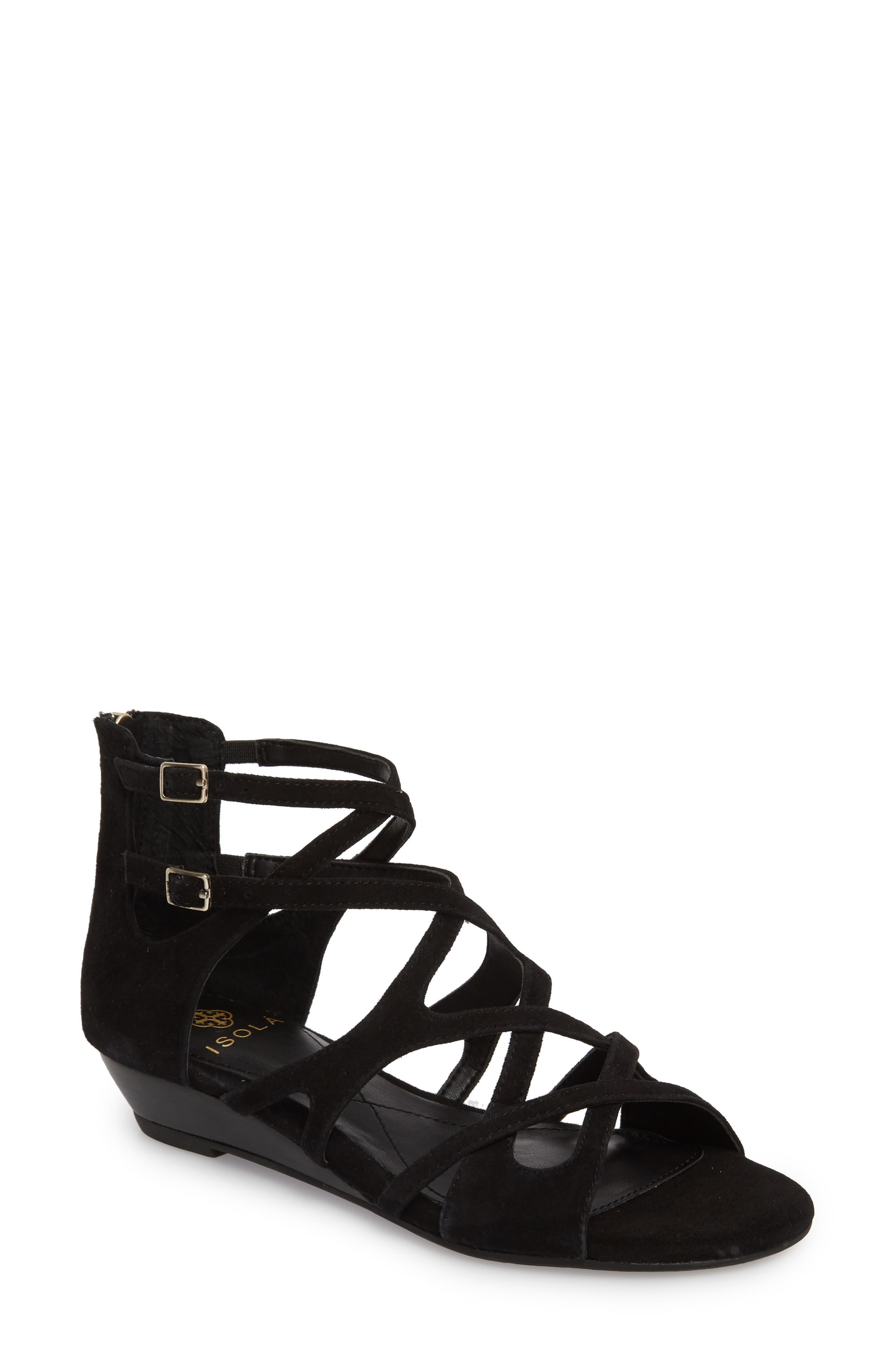 Esmerilda Wedge Sandal,                         Main,                         color, BLACK SUEDE