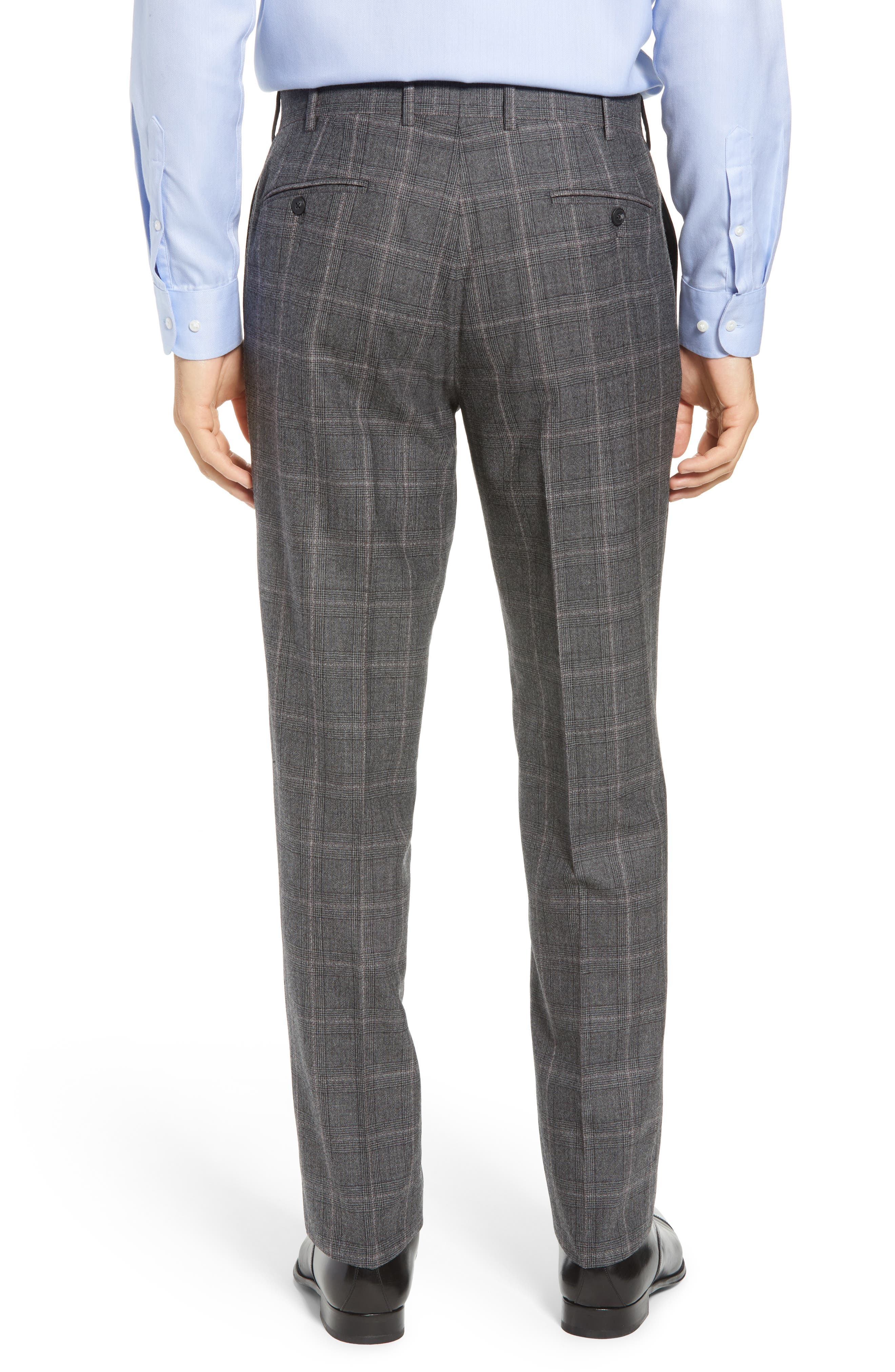 Torino Traditional Fit Flat Front Plaid Wool & Cashmere Trousers,                             Alternate thumbnail 2, color,                             GREY