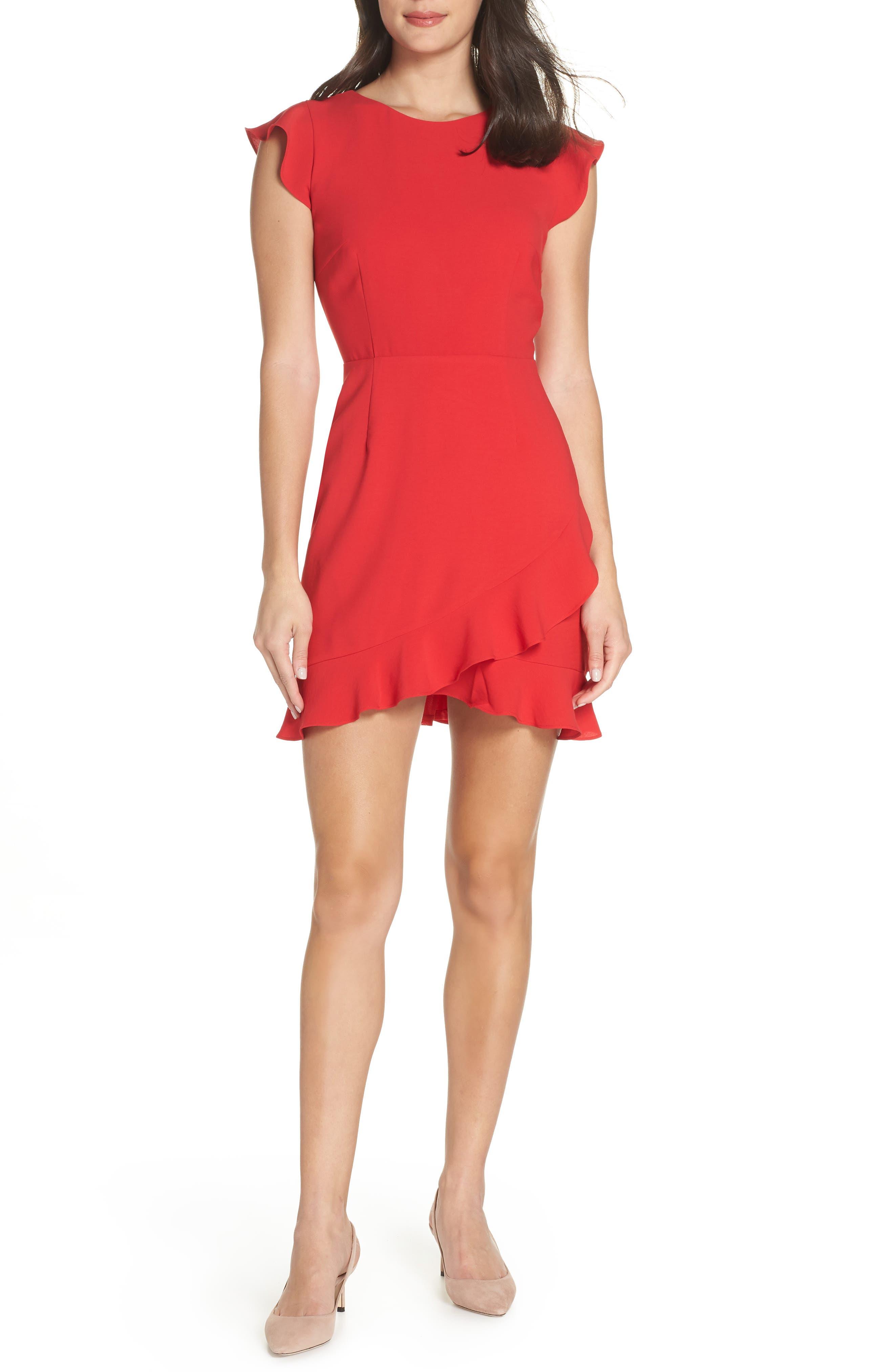 19 COOPER Ruffle Tulip Hem Dress in Red