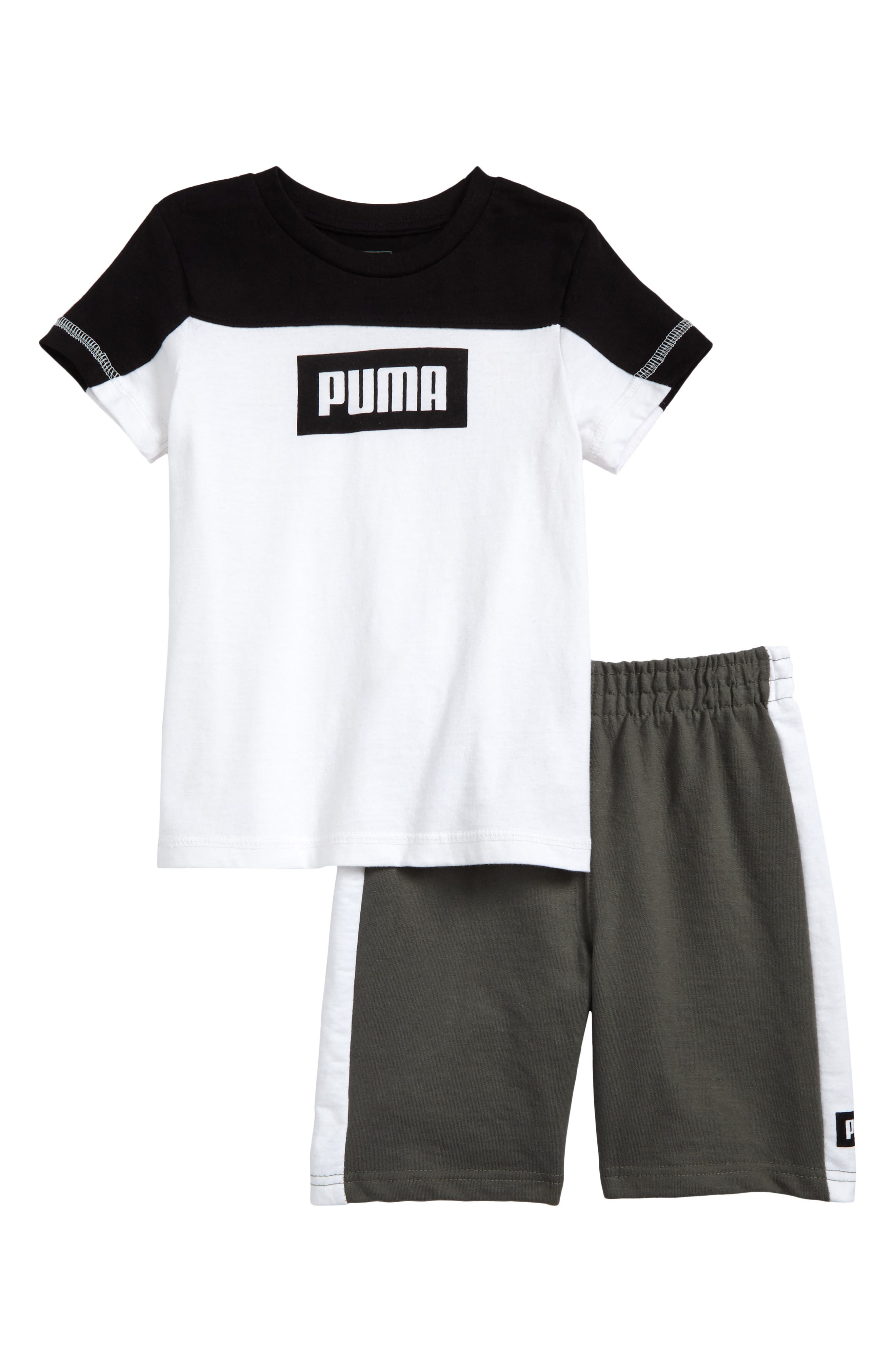 Rebel Logo T-Shirt & Shorts Set,                             Main thumbnail 1, color,                             100