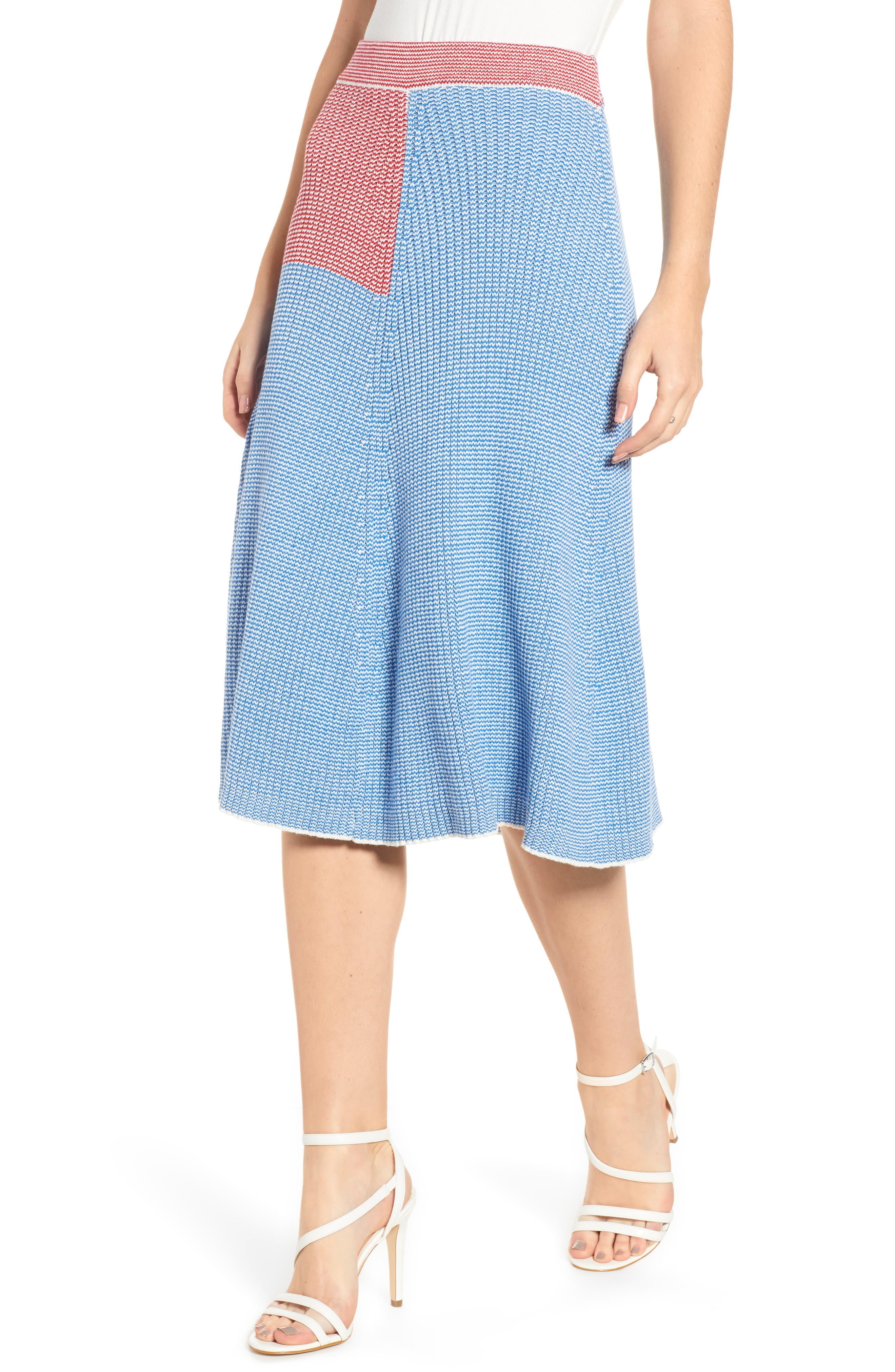 English Factory Midi Sweater Skirt, Blue